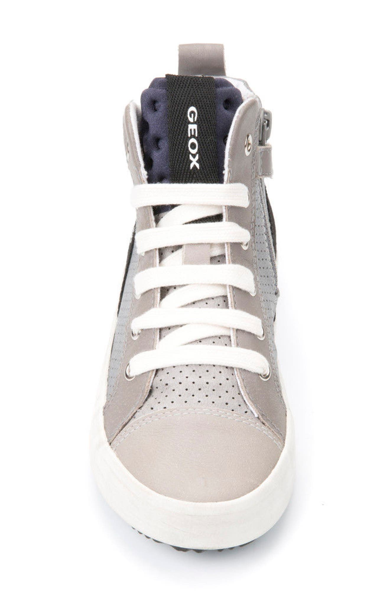 Alonisso Perforated Mid Top Sneaker,                             Alternate thumbnail 4, color,                             GREY/ LIGHT GREY
