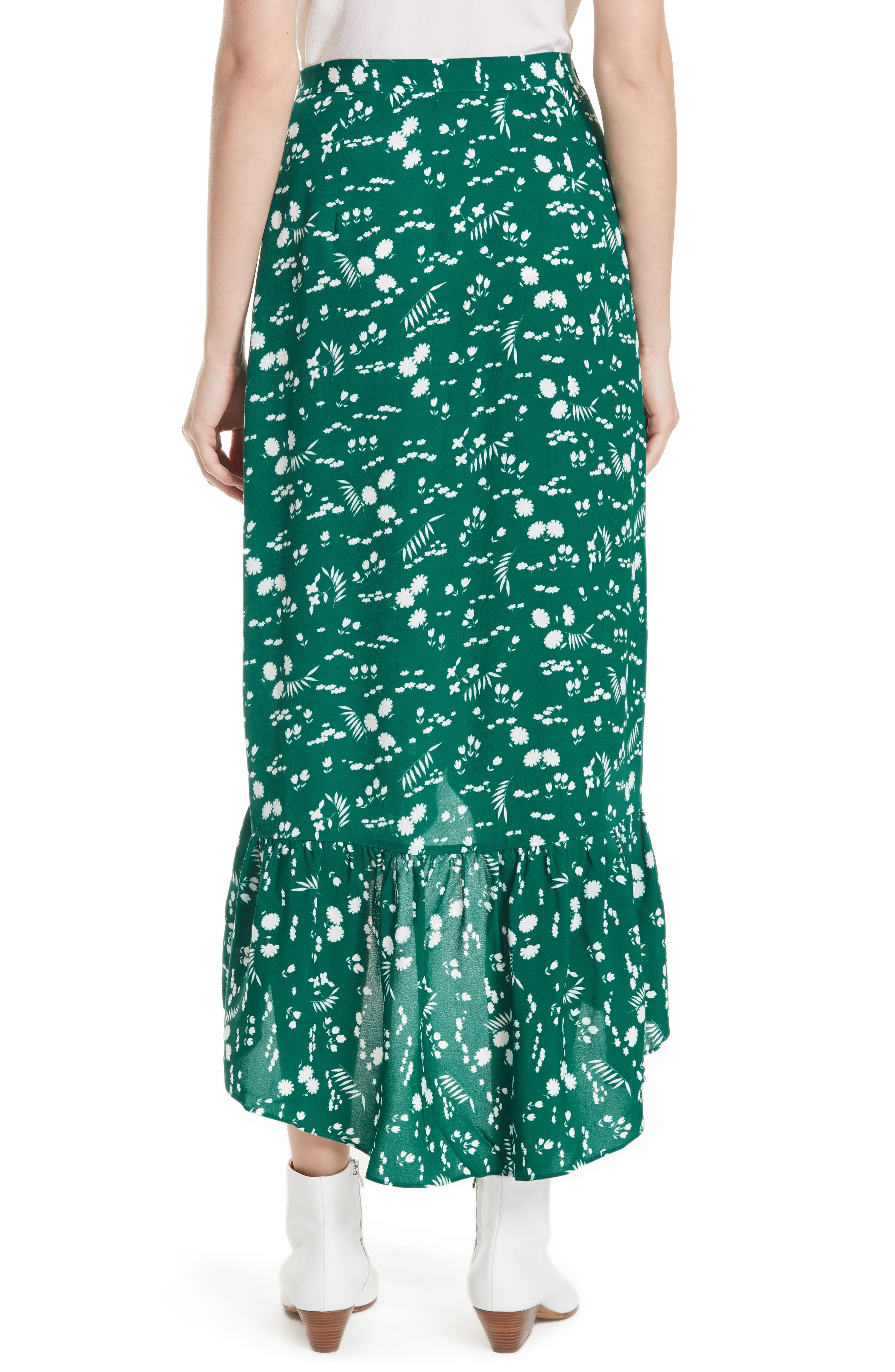 Floral High/Low Wrap Skirt,                             Alternate thumbnail 2, color,