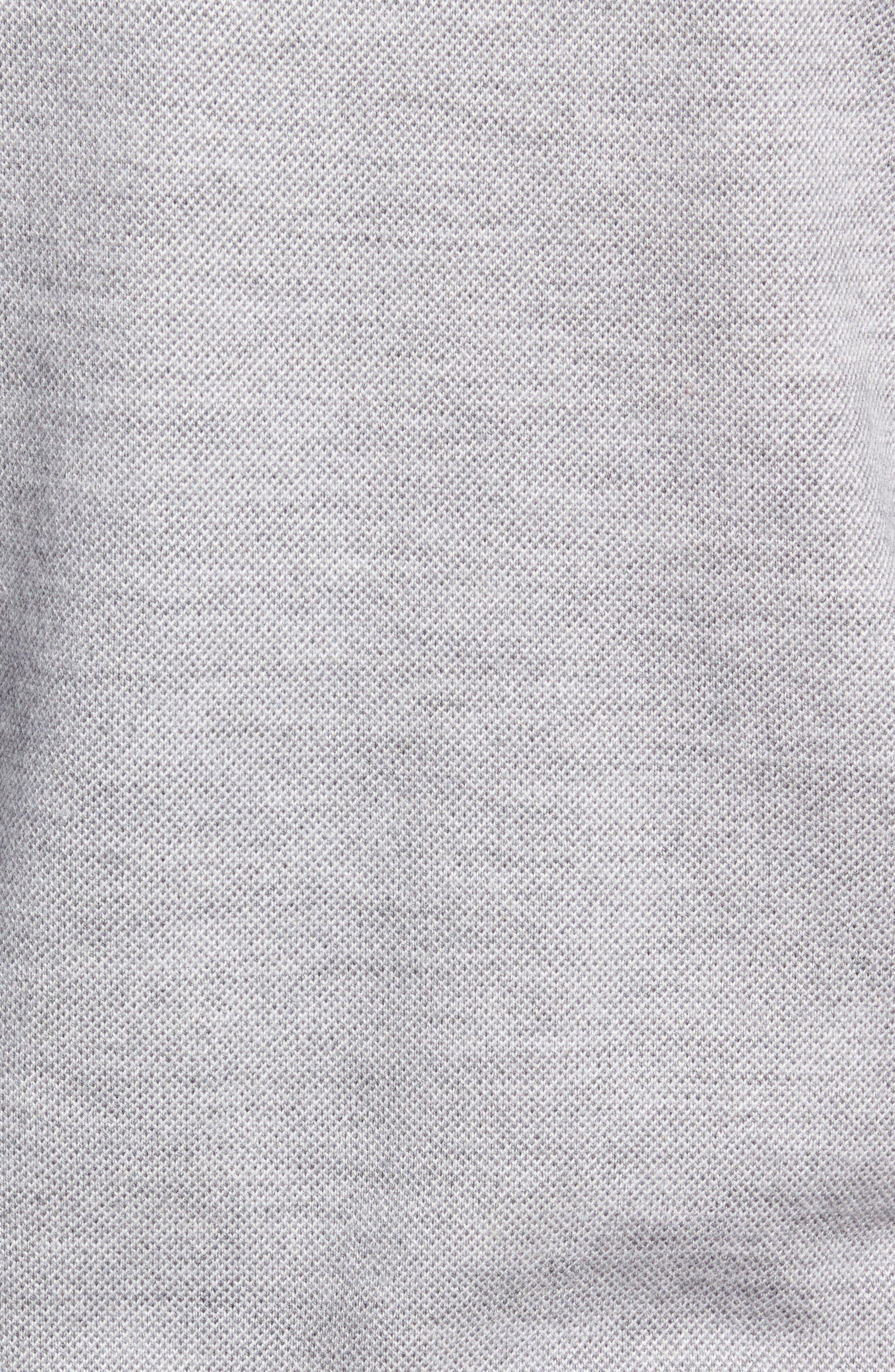 Birdseye Merino Wool Quarter Zip Sweater,                             Alternate thumbnail 5, color,                             BRITISH GREY