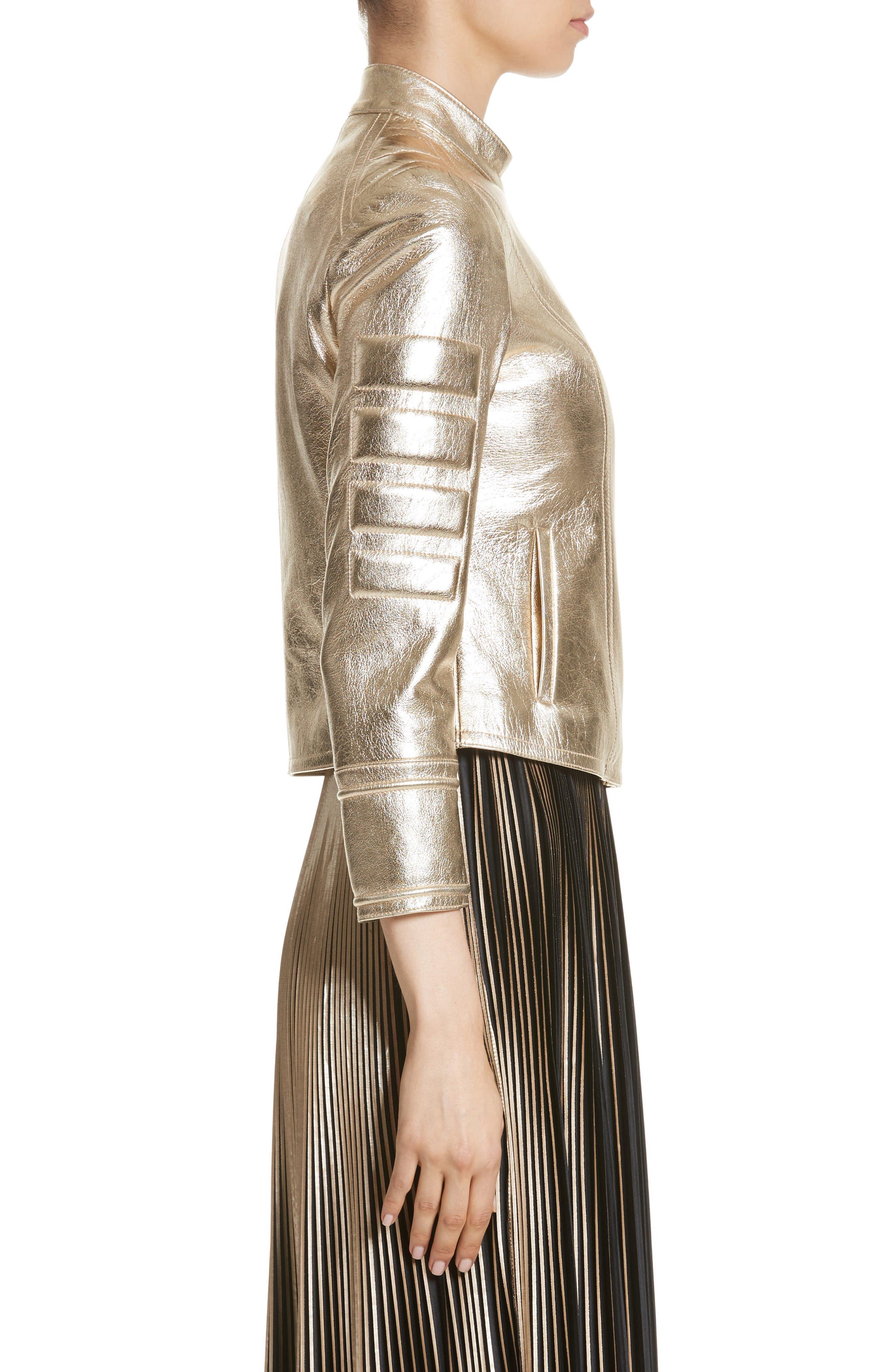 Foiled Metallic Leather Moto Jacket,                             Alternate thumbnail 3, color,
