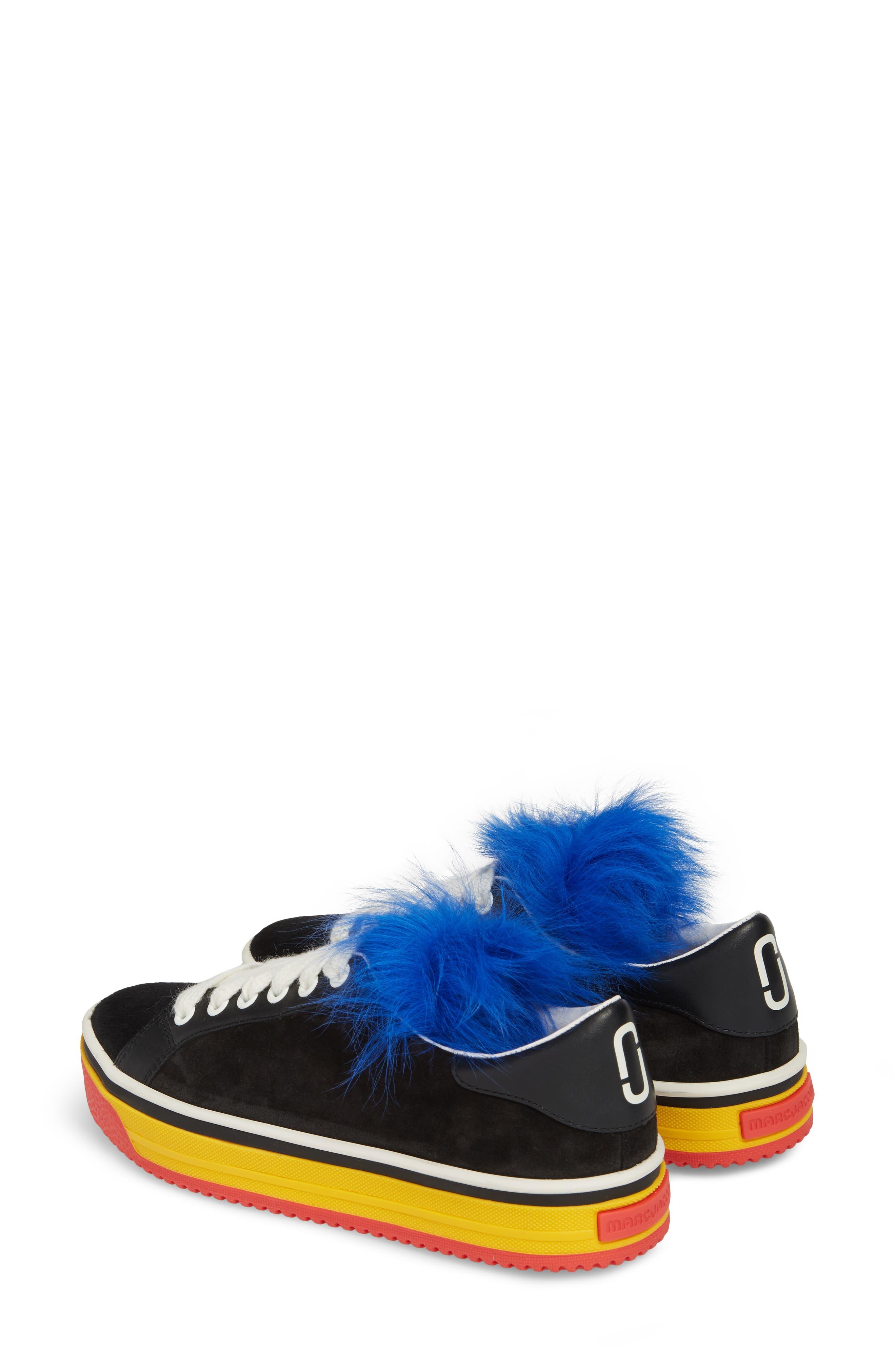 Empire Love Genuine Shearling & Calf Hair Trim Sneaker,                             Alternate thumbnail 3, color,                             BLACK MULTI