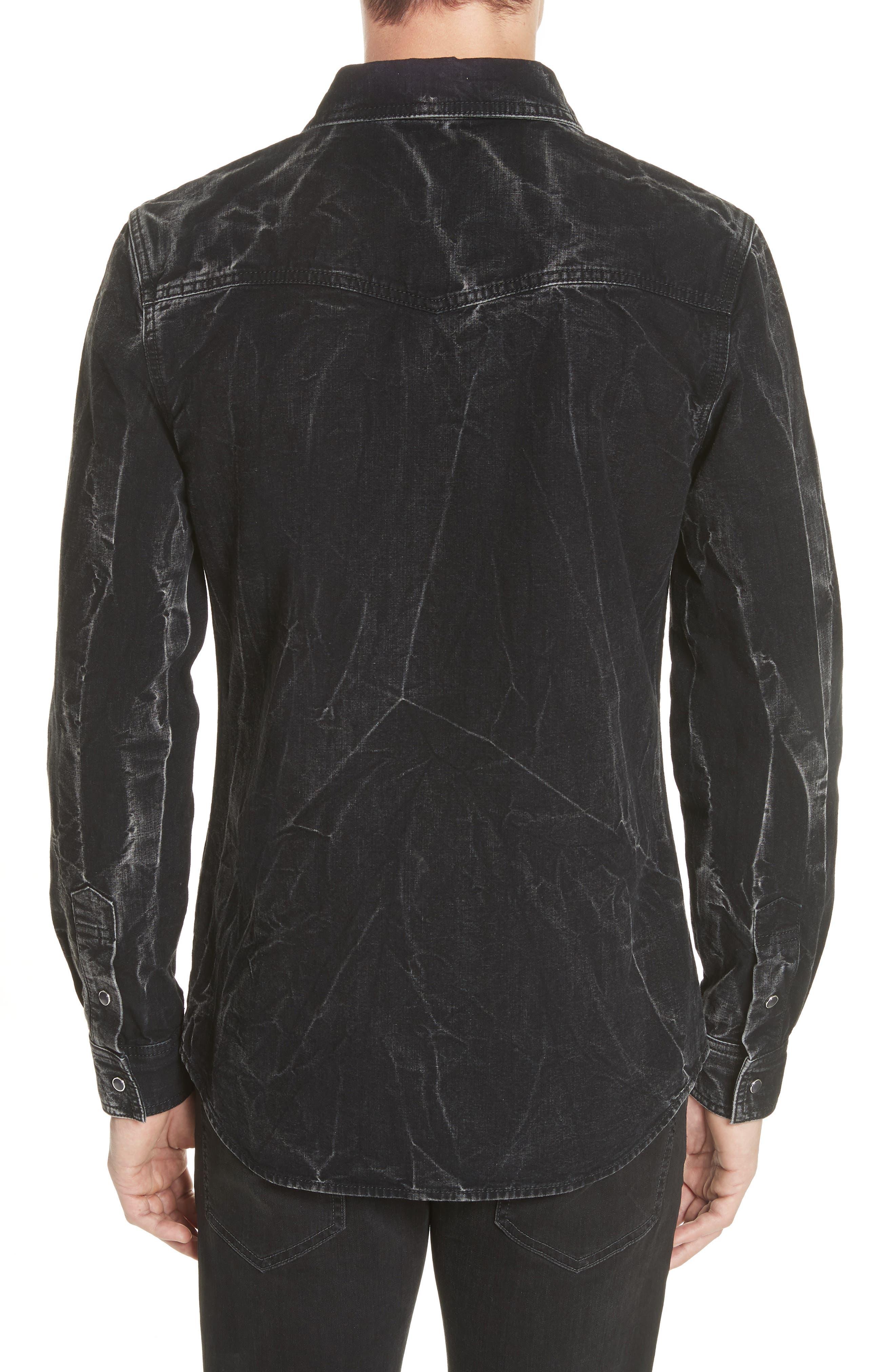 Denim Shirt,                             Alternate thumbnail 2, color,                             BLACK/ GREY