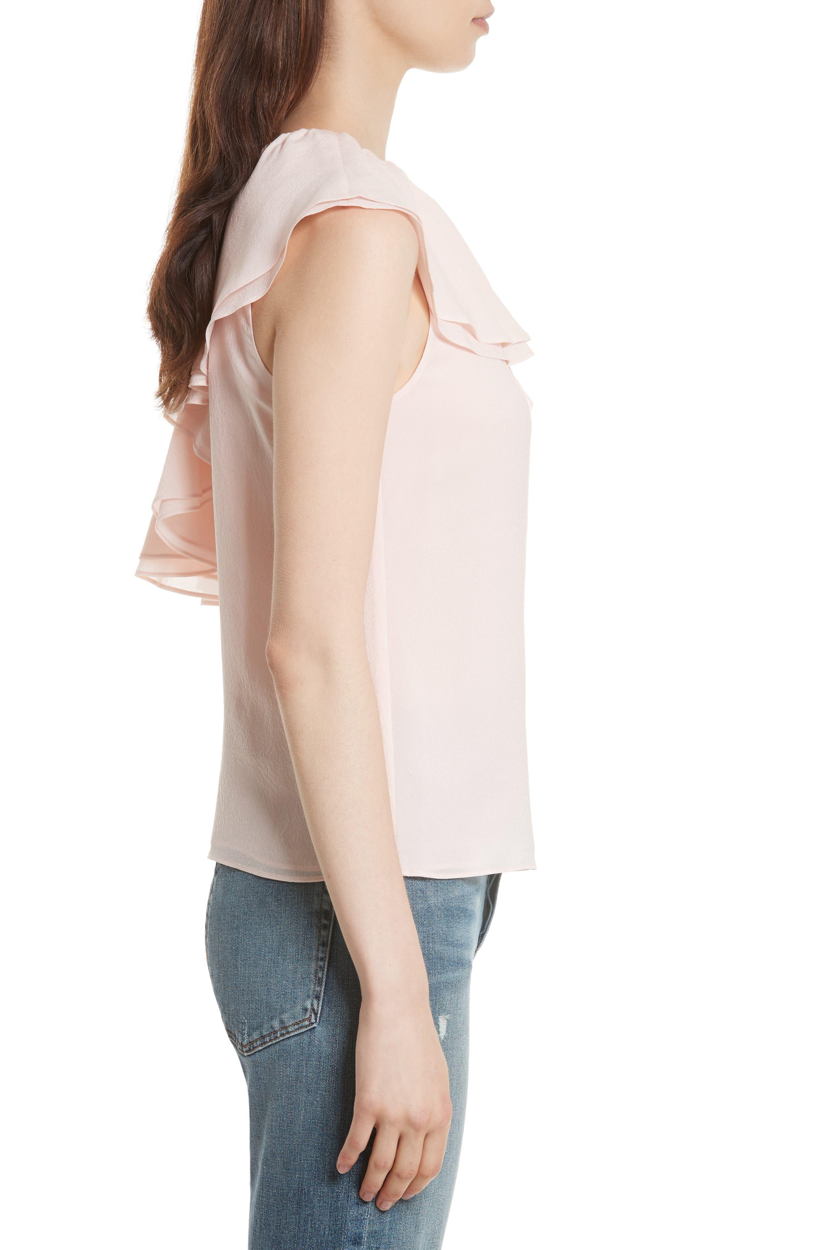 One-Shoulder Silk Top,                             Alternate thumbnail 3, color,                             652