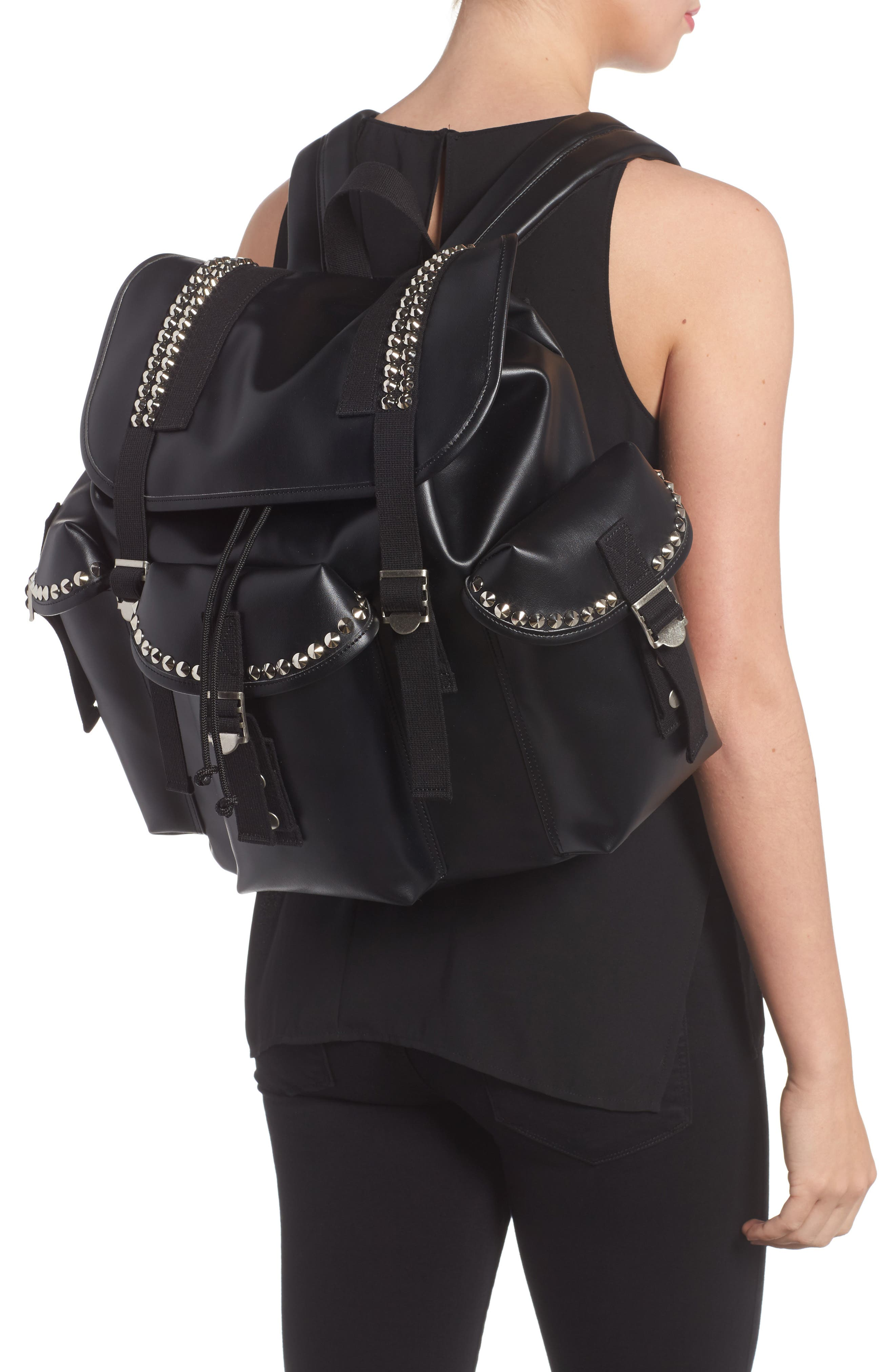 Studded Faux Leather Backpack,                             Alternate thumbnail 2, color,                             001