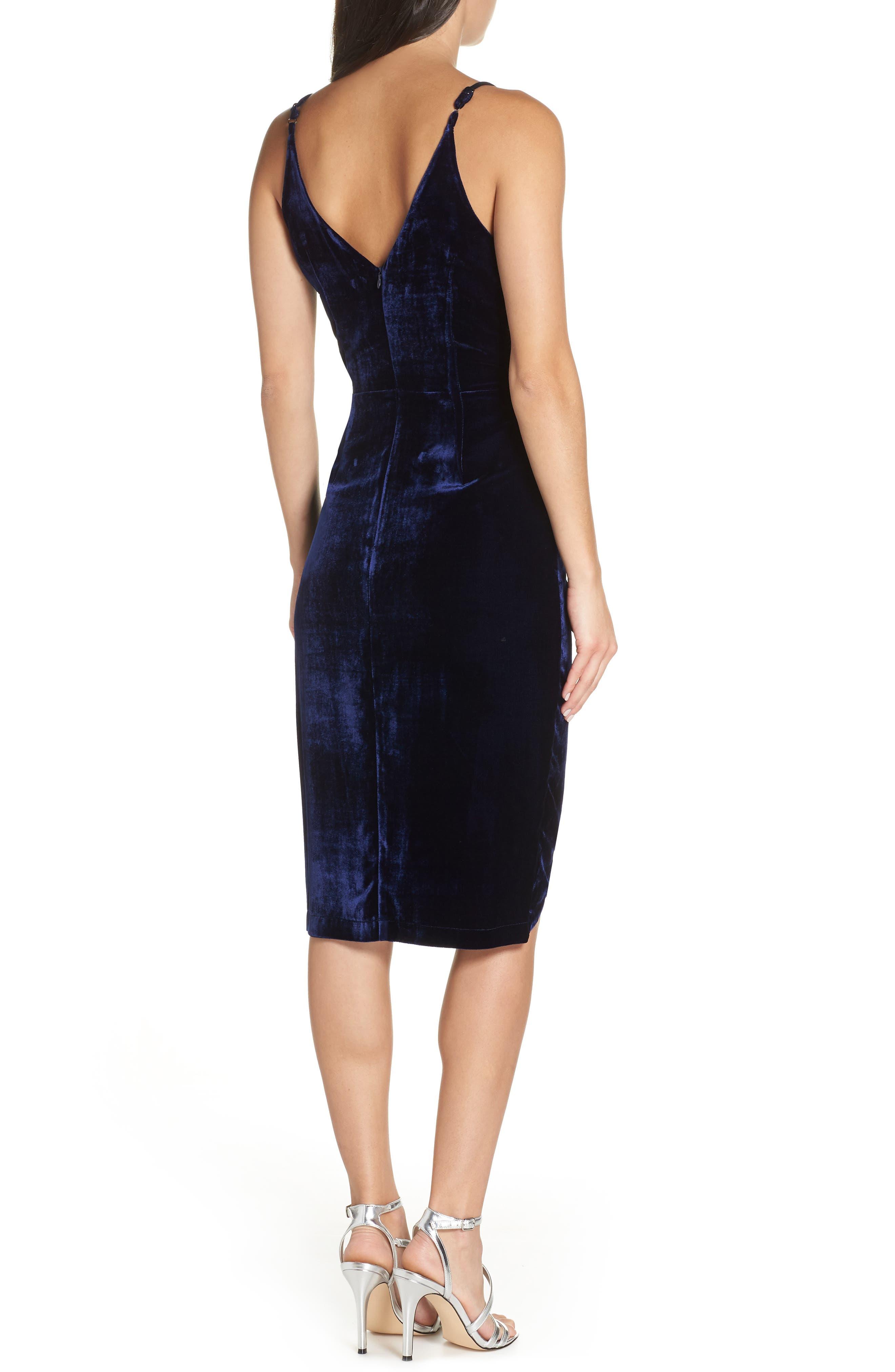 Drape Midi Dress,                             Alternate thumbnail 2, color,                             MIDNIGHT BLUE