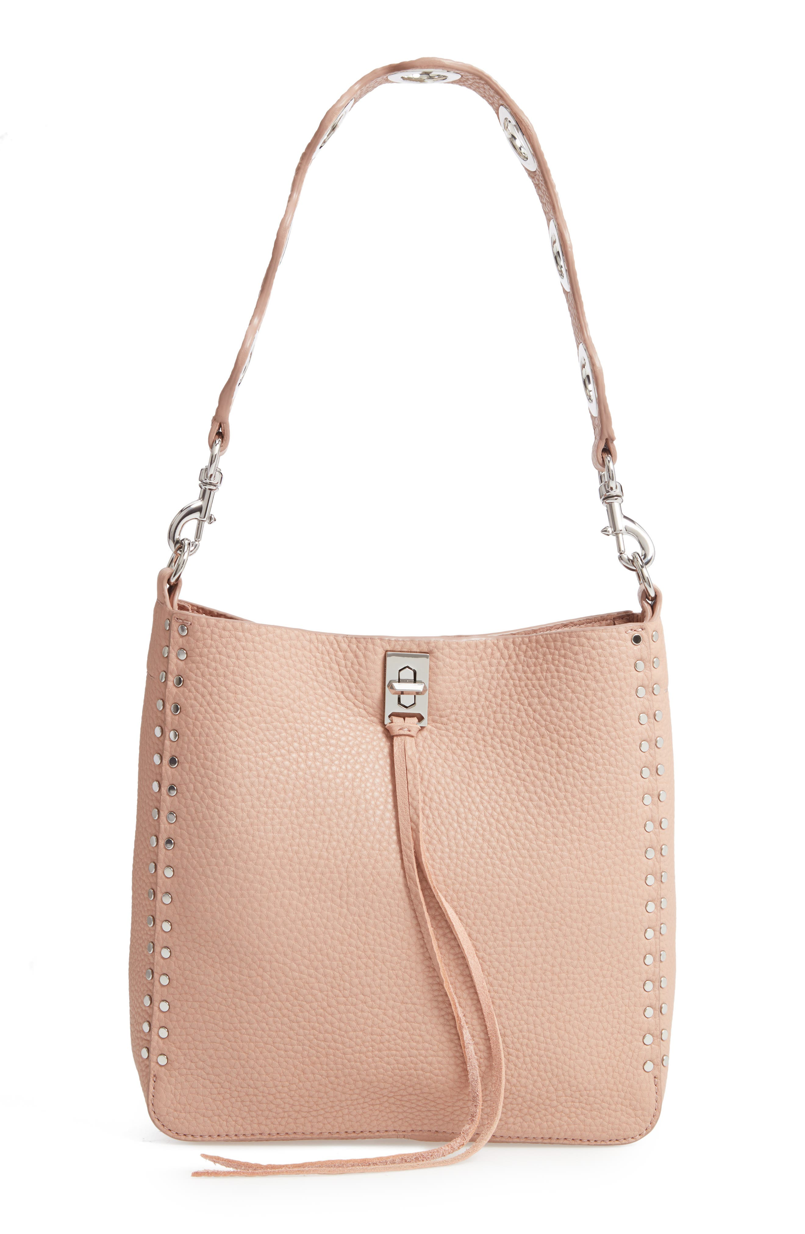 Small Studded Leather Feed Bag - Beige in Doe