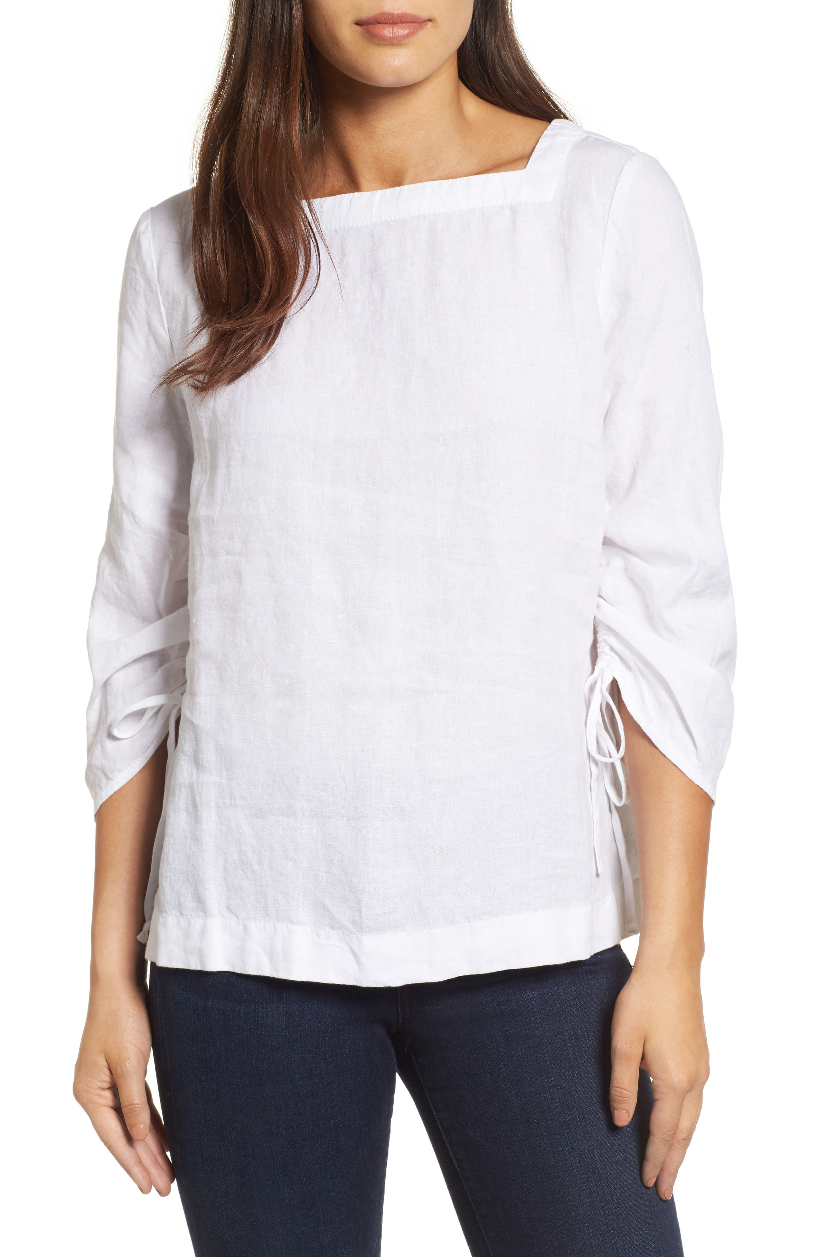 Ruched Sleeve Linen Pullover,                         Main,                         color,