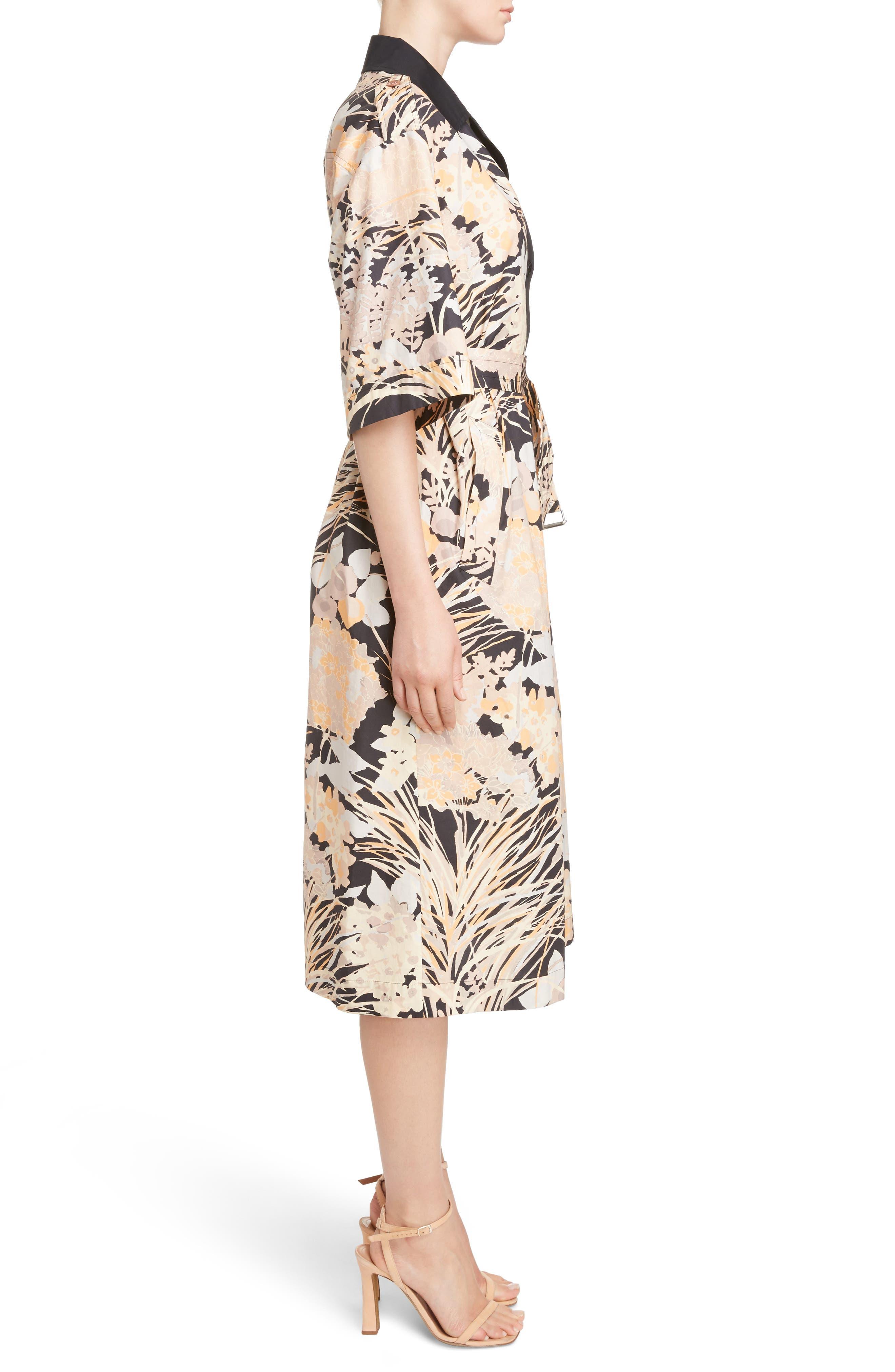 Floral Cotton Shirtdress,                             Alternate thumbnail 5, color,