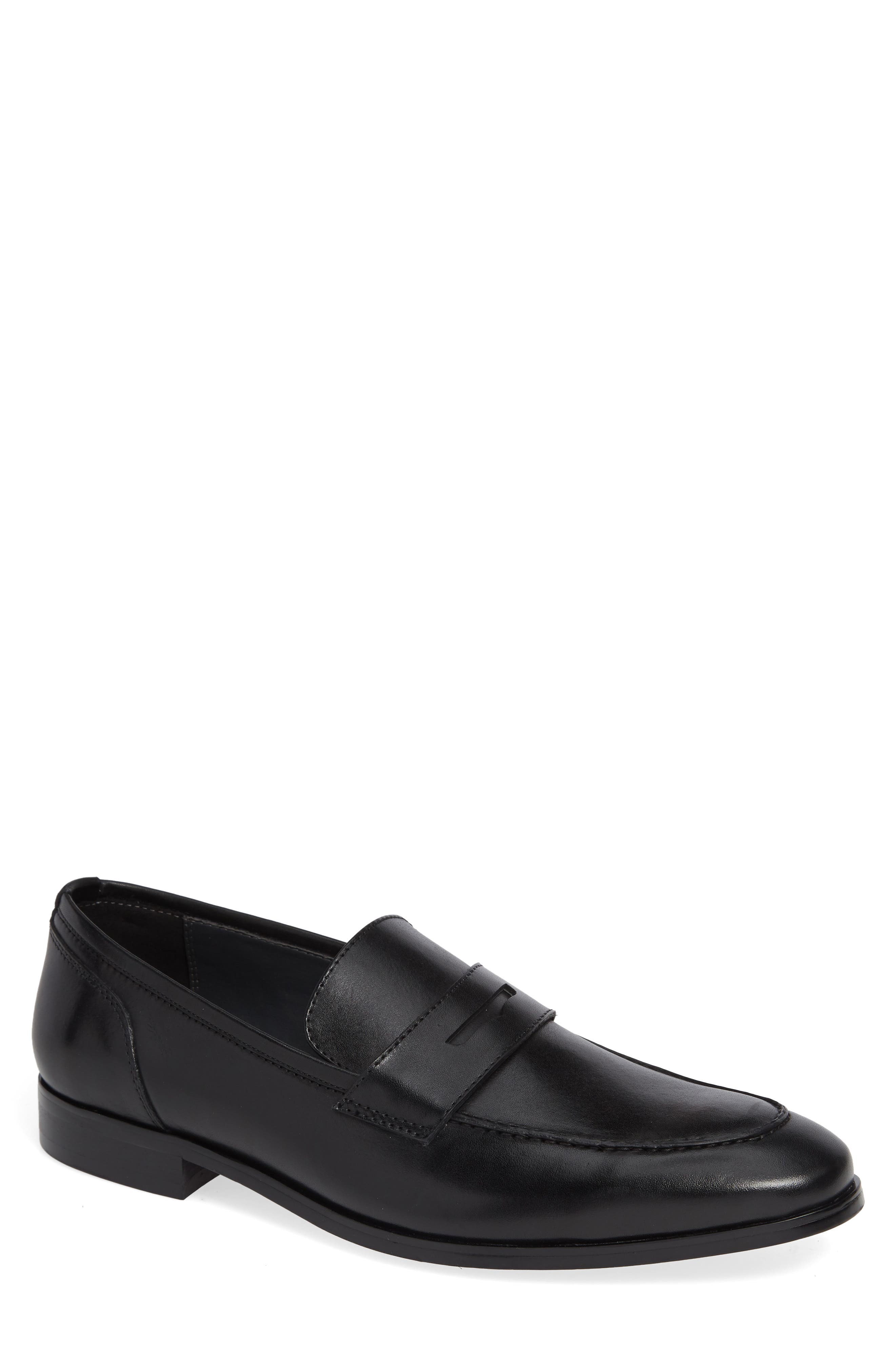 Denio Apron Toe Penny Loafer,                             Main thumbnail 1, color,                             BLACK LEATHER