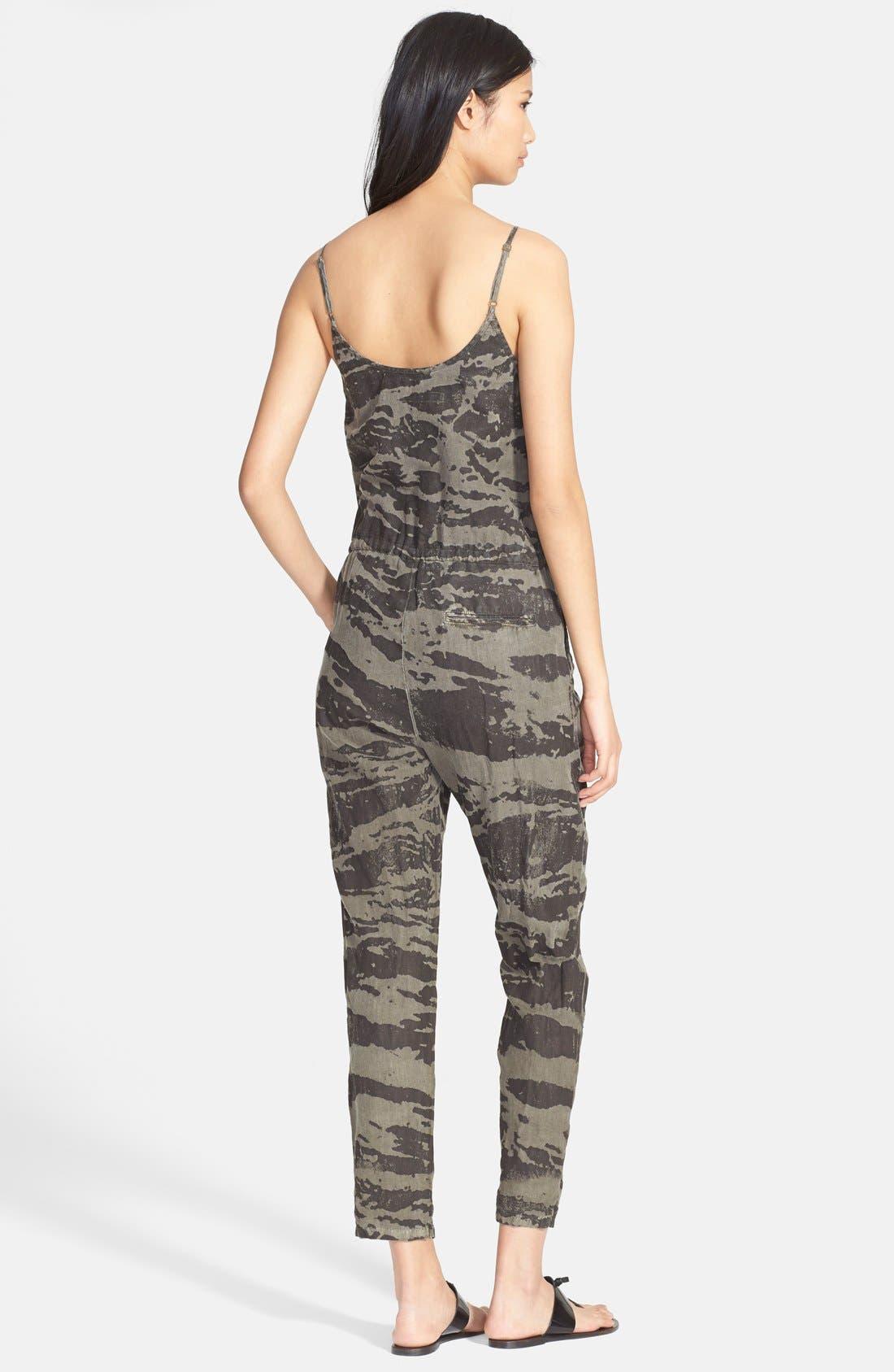 ENZA COSTA,                             Camo Print Linen Jumpsuit,                             Alternate thumbnail 3, color,                             020