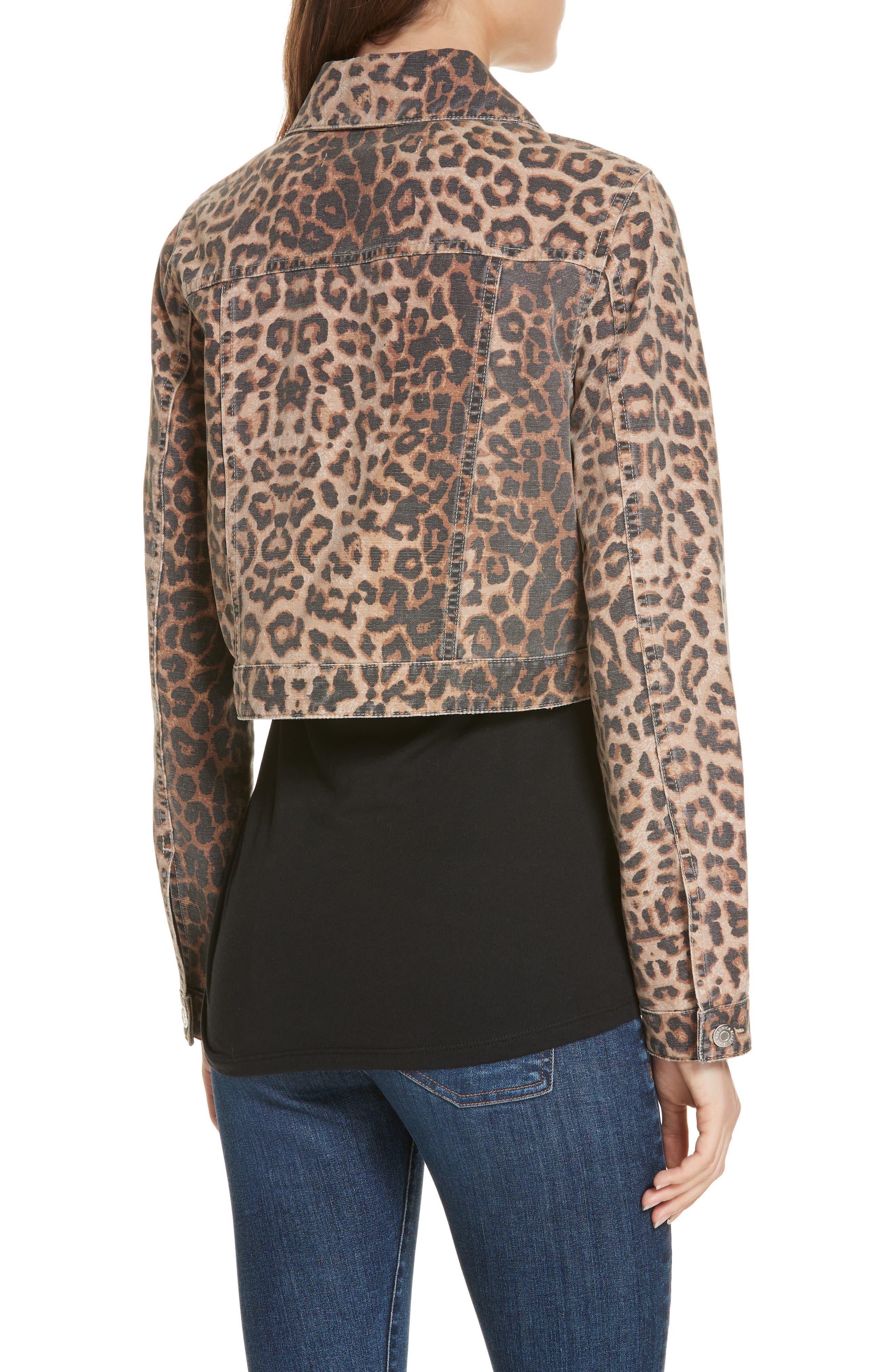 VERONICA BEARD,                             Cara Leopard Print Crop Denim Jacket,                             Alternate thumbnail 2, color,                             LEOPARD