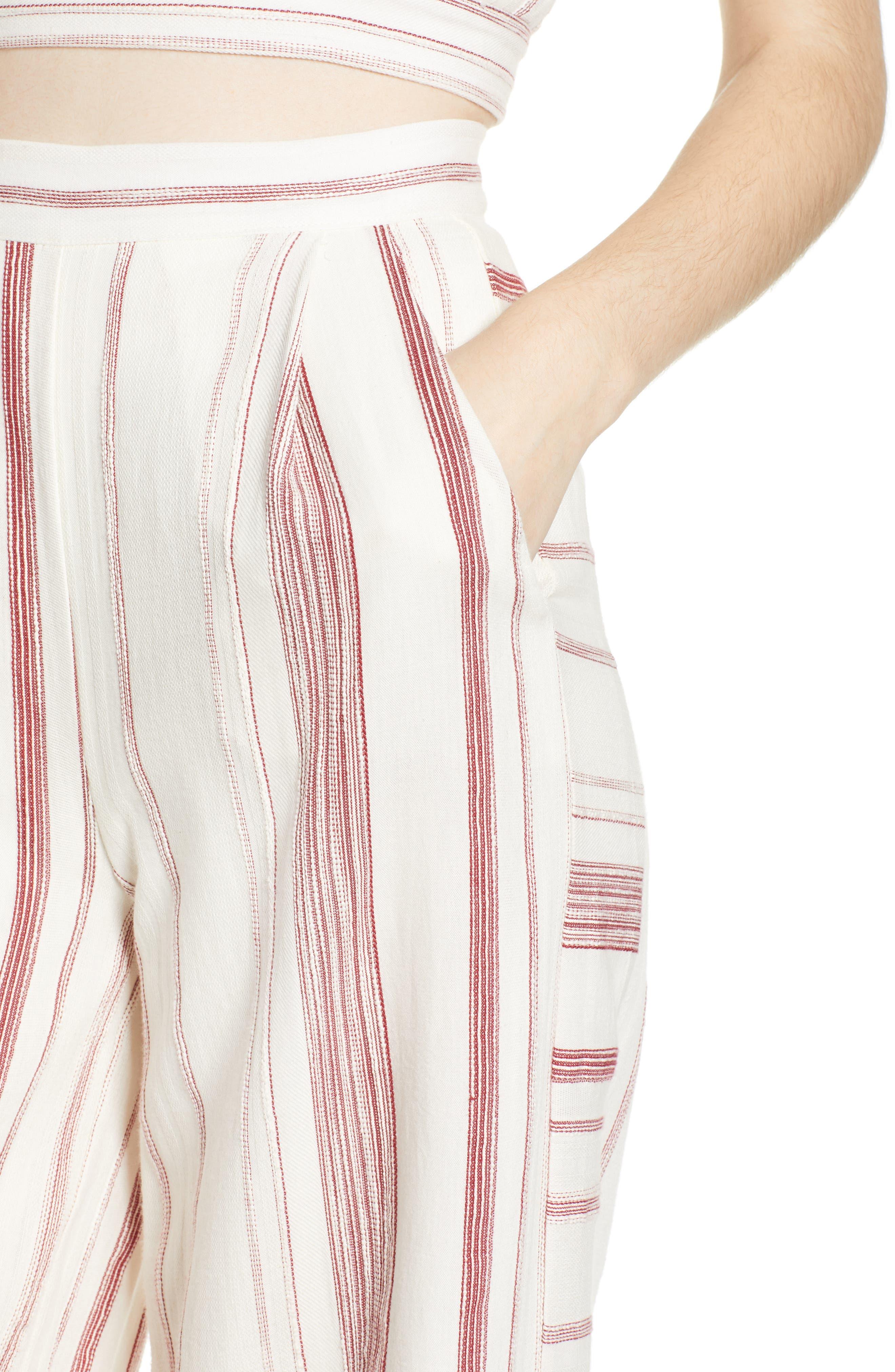 Mariana Stripe Crop Wide Leg Pants,                             Alternate thumbnail 4, color,                             600