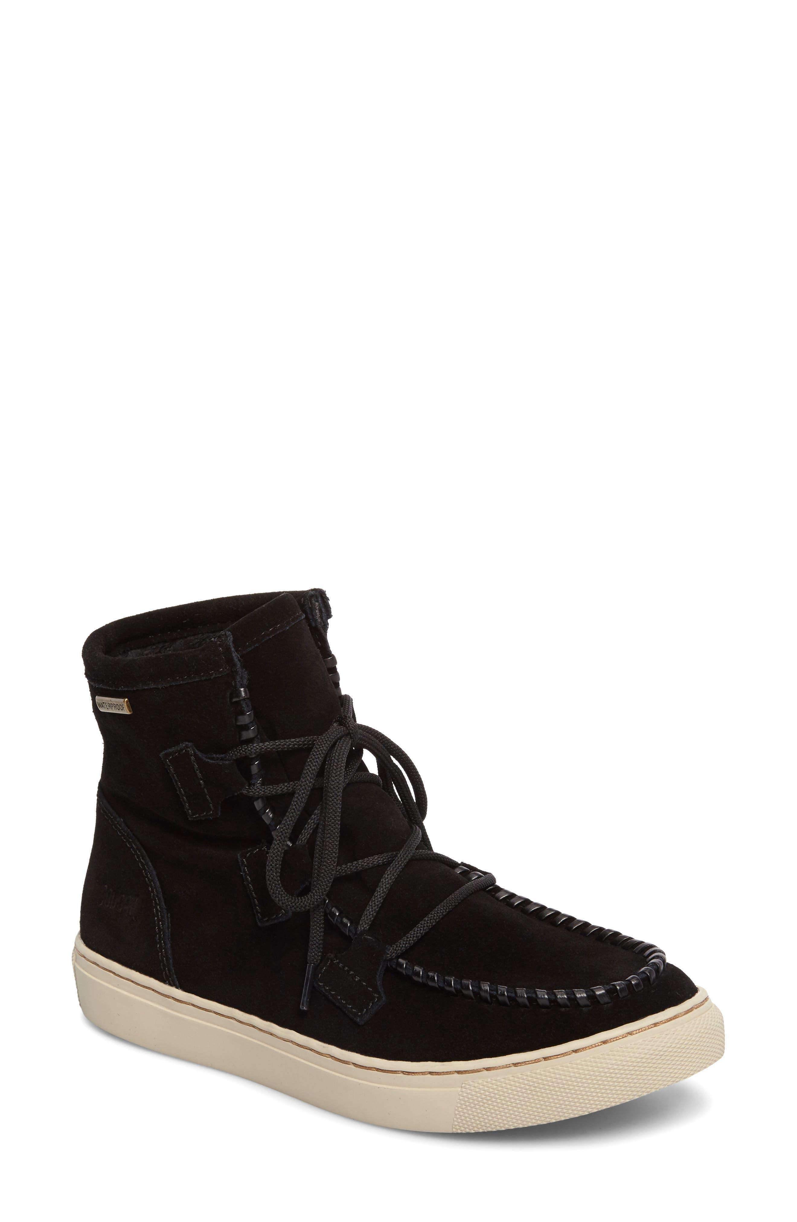 Fabiola Waterproof High Top Sneaker,                             Main thumbnail 1, color,                             BLACK SUEDE