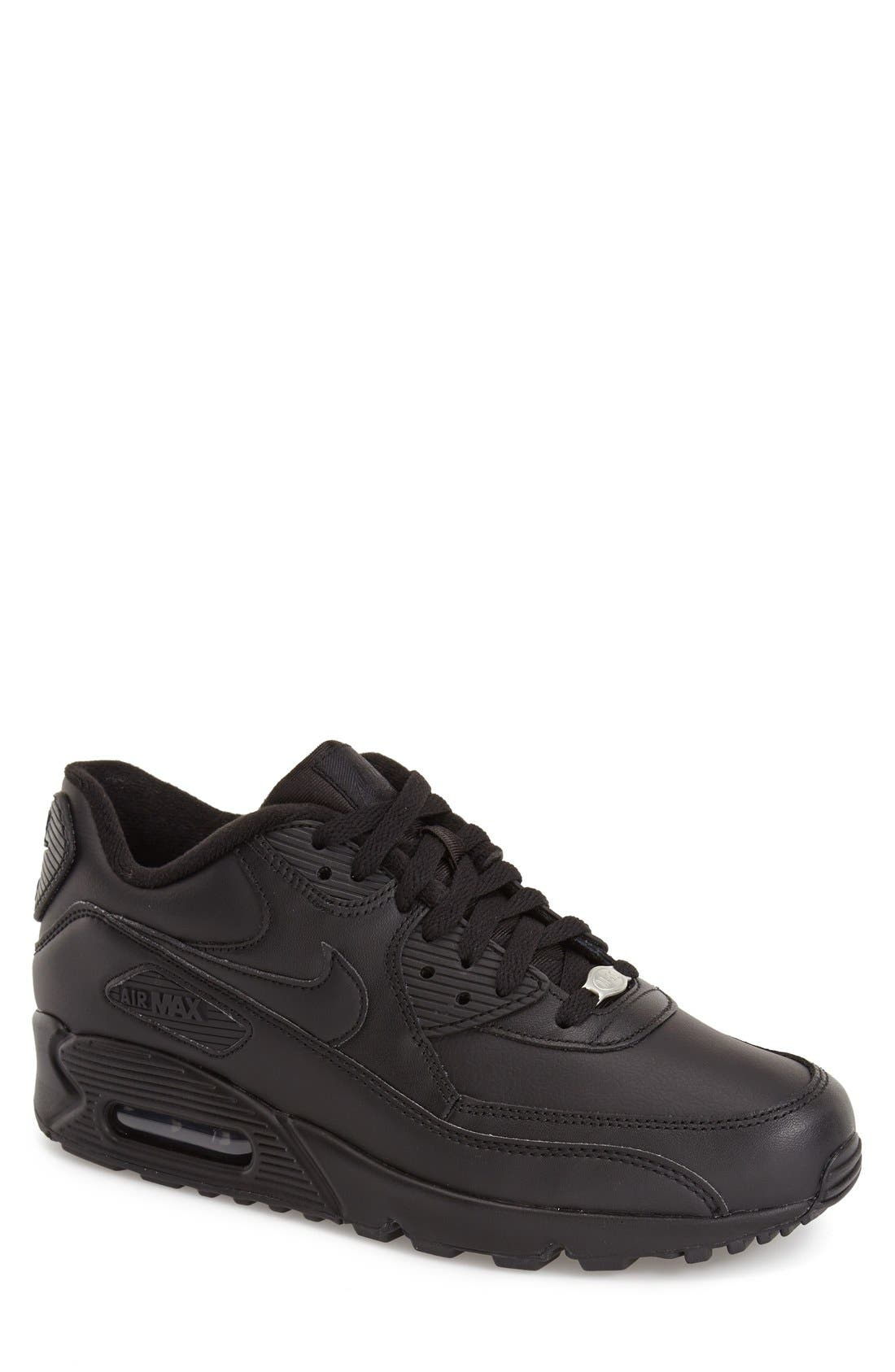 'Air Max 90' Leather Sneaker,                             Main thumbnail 1, color,                             001