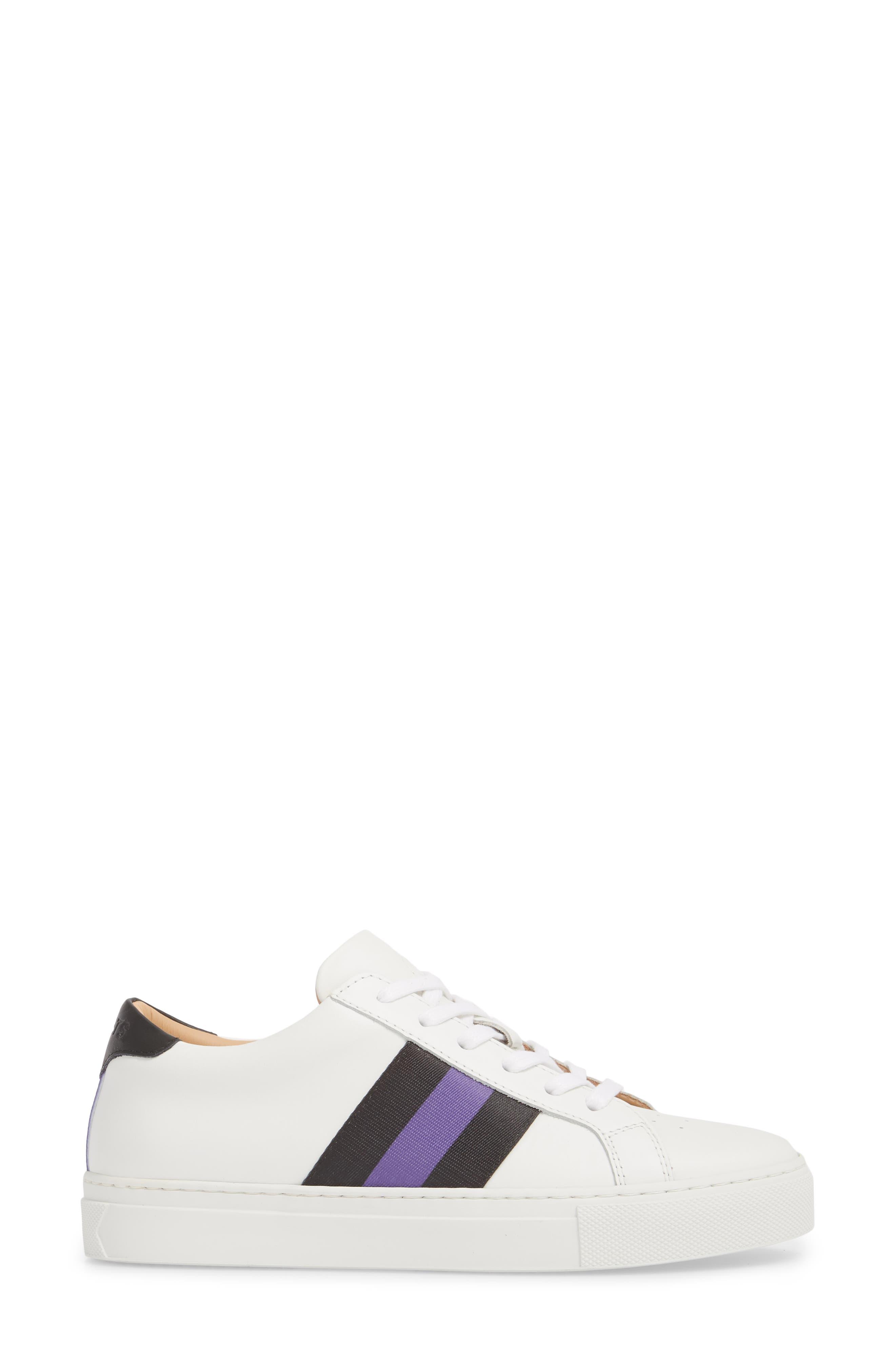 Royale Stripe Sneaker,                             Alternate thumbnail 3, color,                             WHITE/ BLACK/ VIOLET