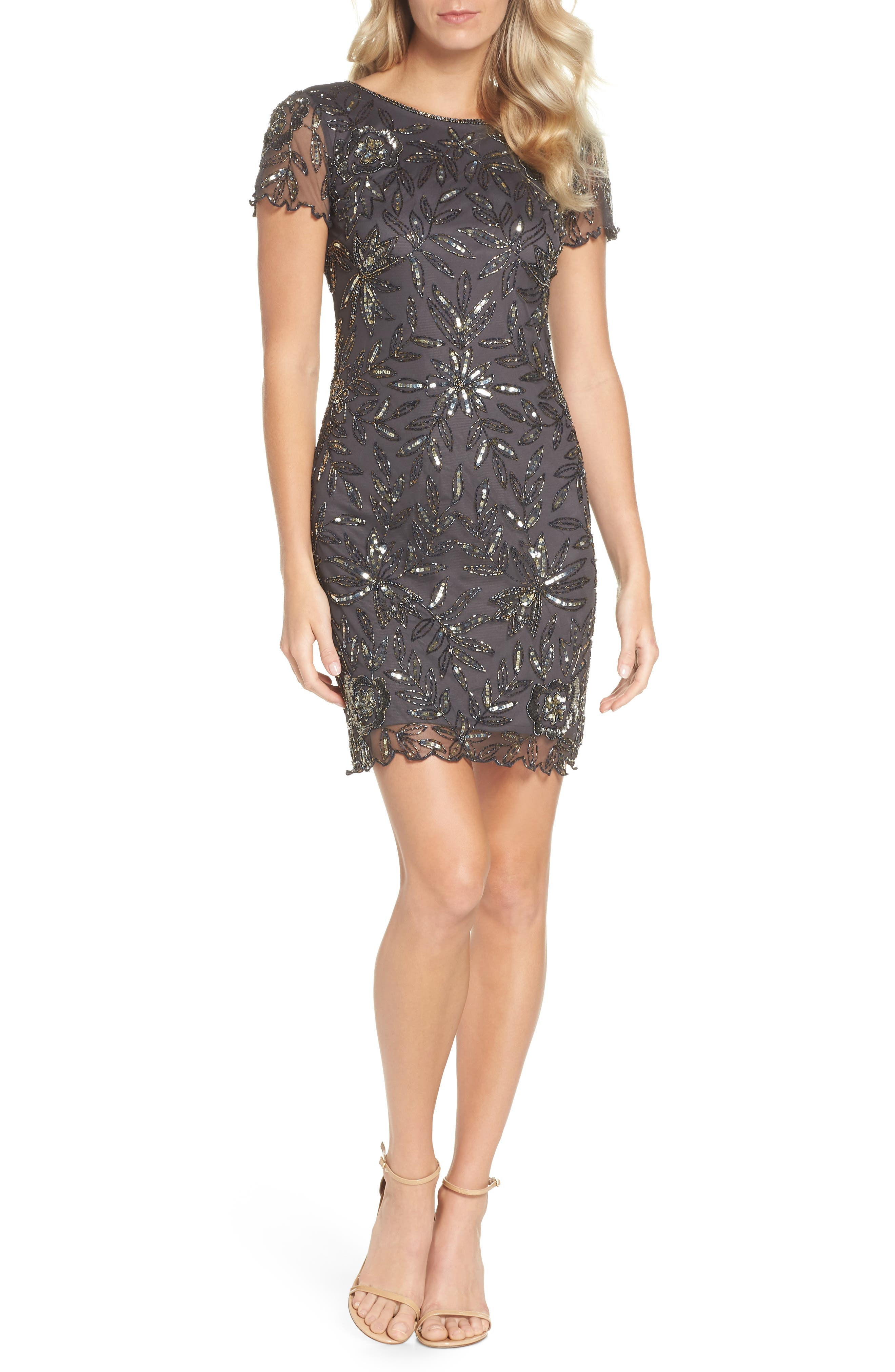 Floral Beaded Shift Dress,                         Main,                         color, 629