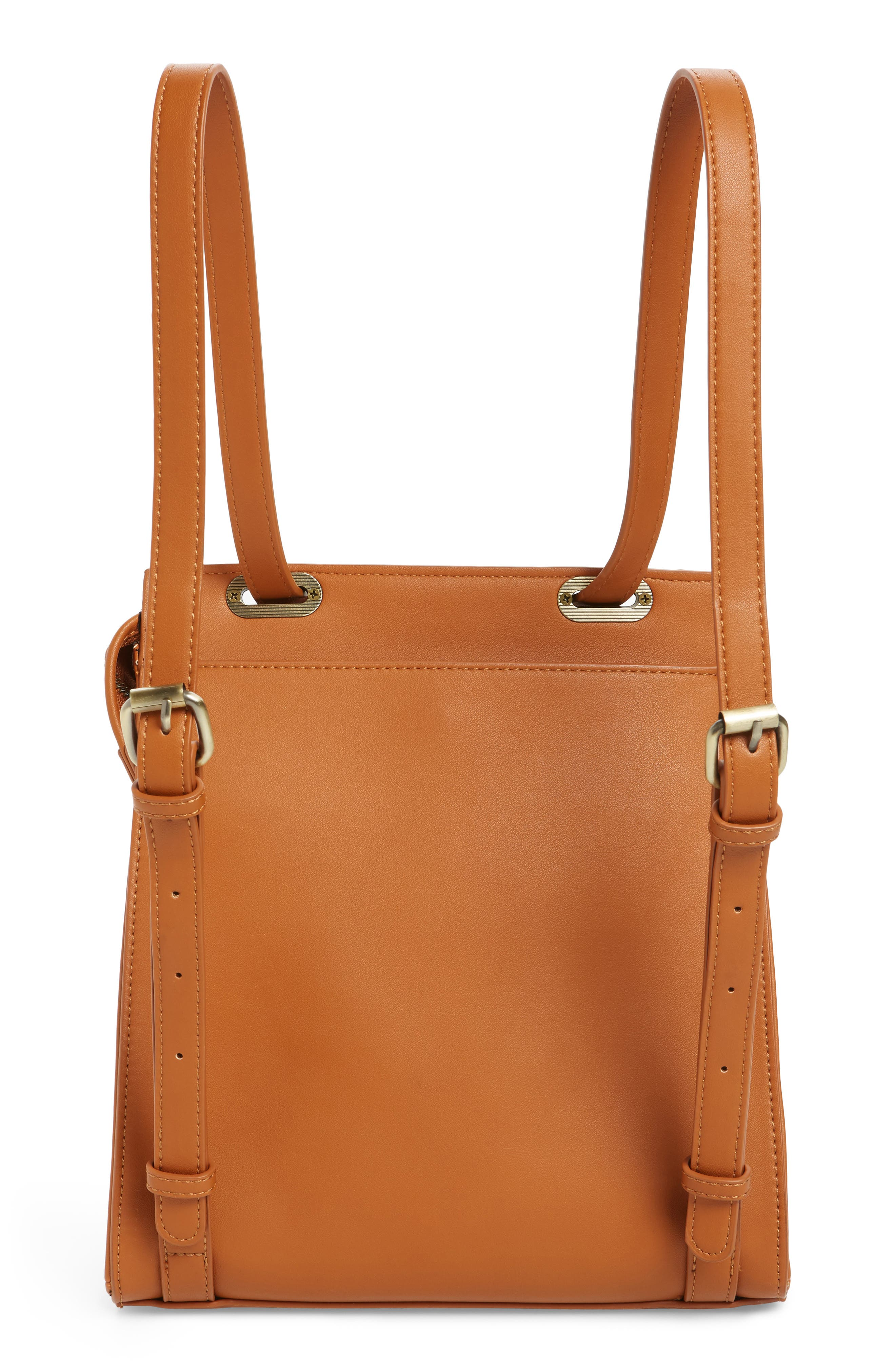 Faux Leather Convertible Backpack,                             Alternate thumbnail 8, color,