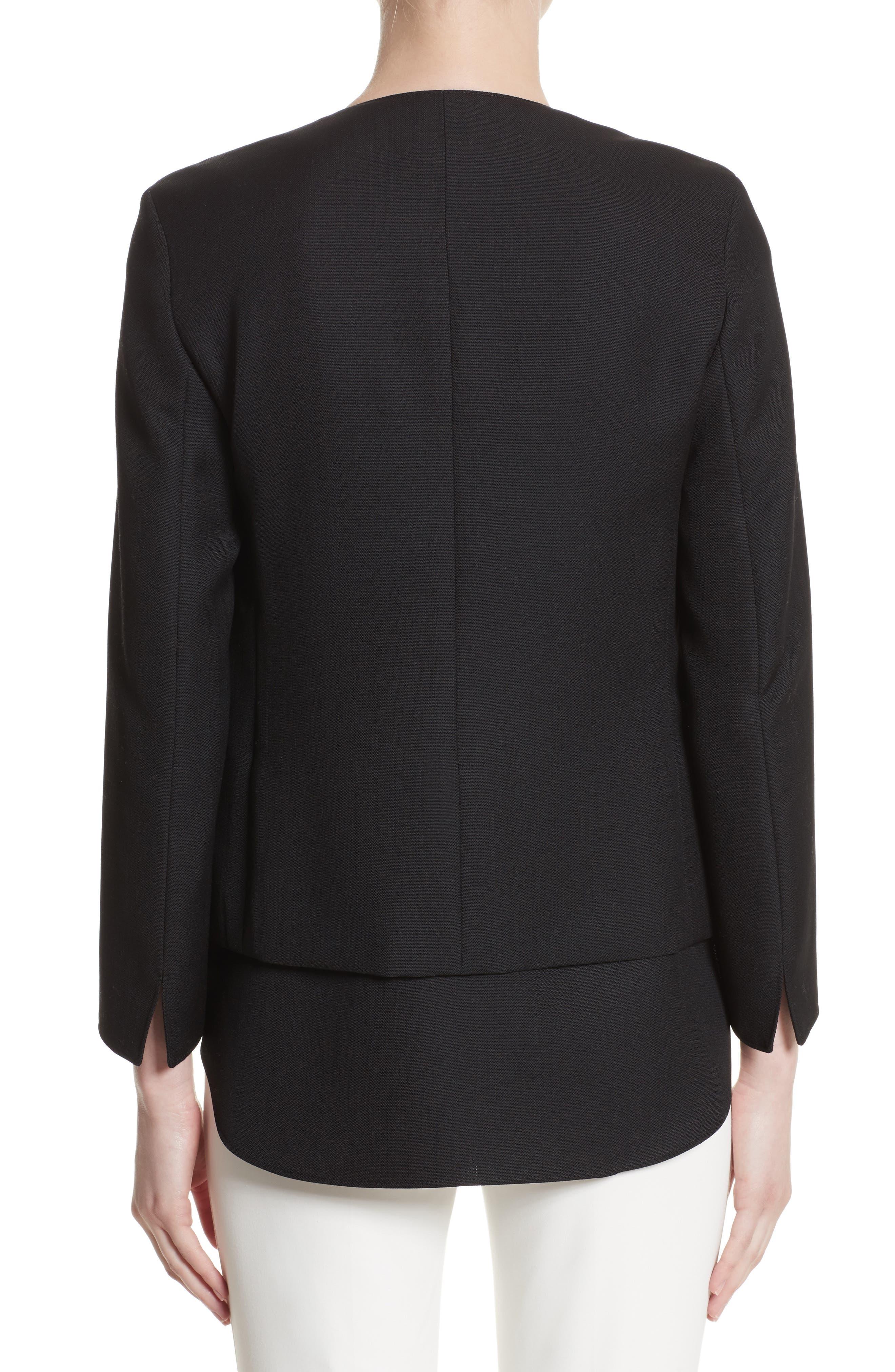 Wool Jacket with Detachable Hem,                             Alternate thumbnail 2, color,                             009