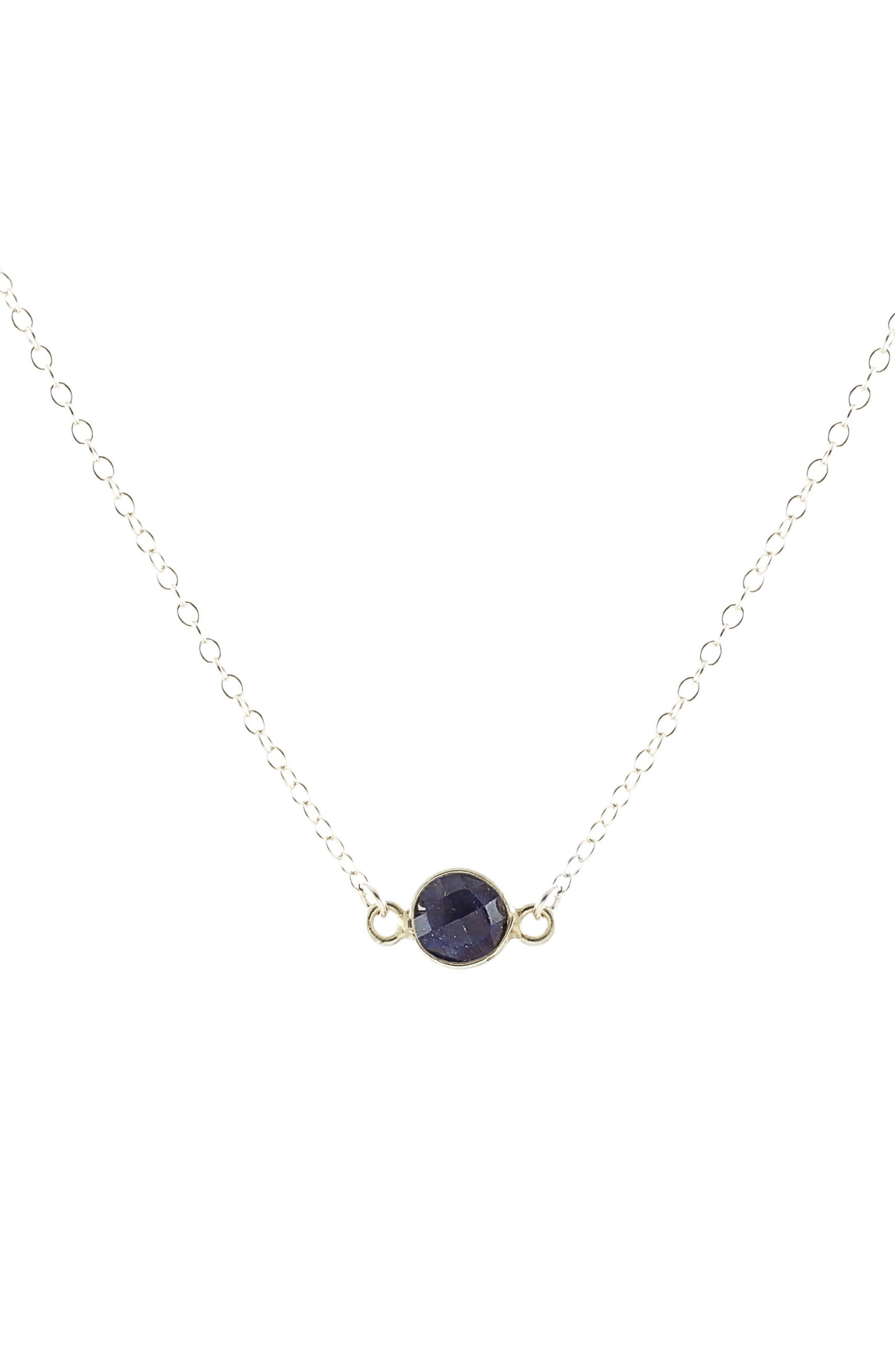 Tiny Birthstone Pendant Necklace,                             Main thumbnail 1, color,                             SEPTEMBER - SAPPHIRE