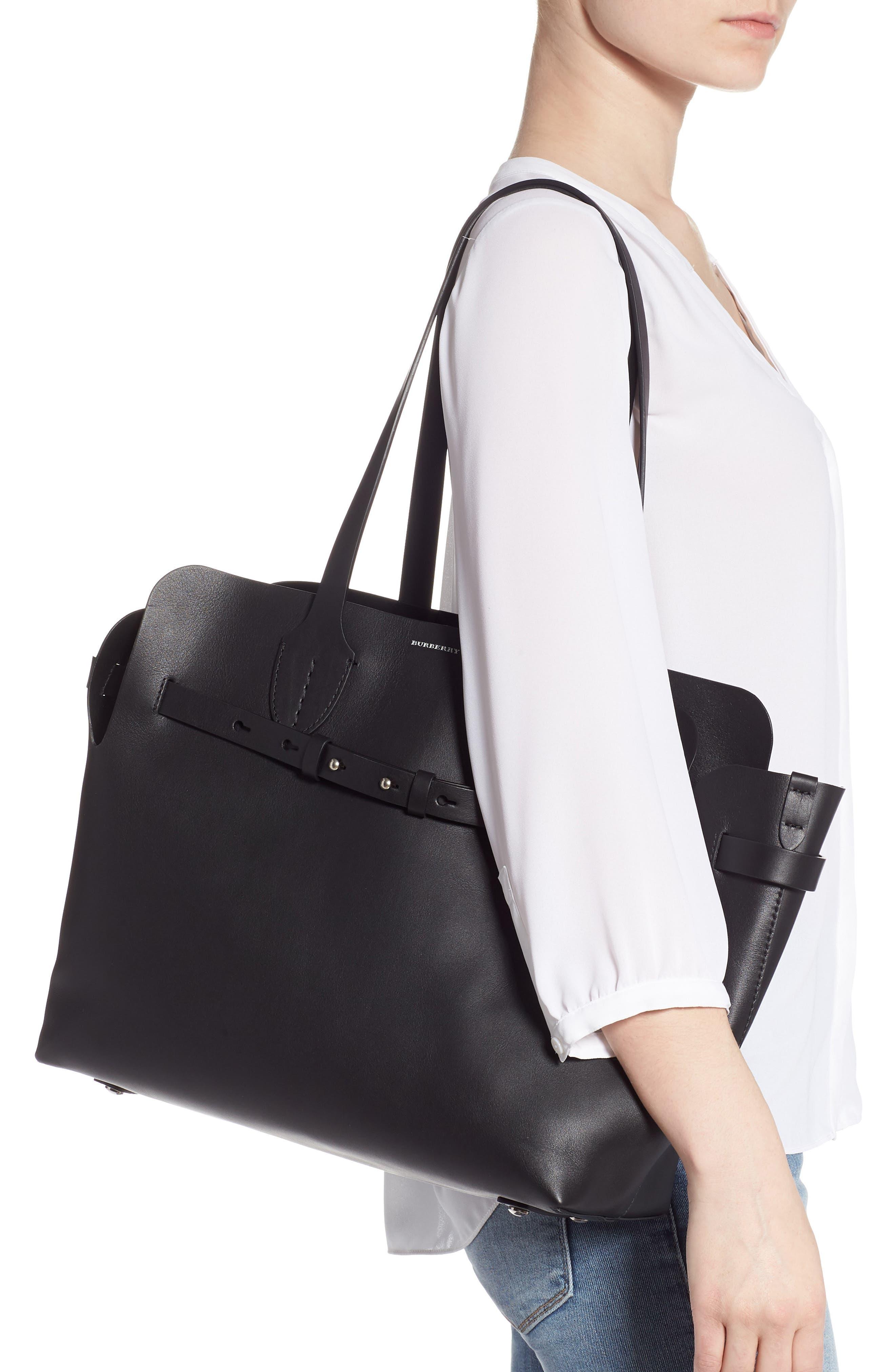 Medium Belt Bag Leather Tote,                             Alternate thumbnail 2, color,                             BLACK