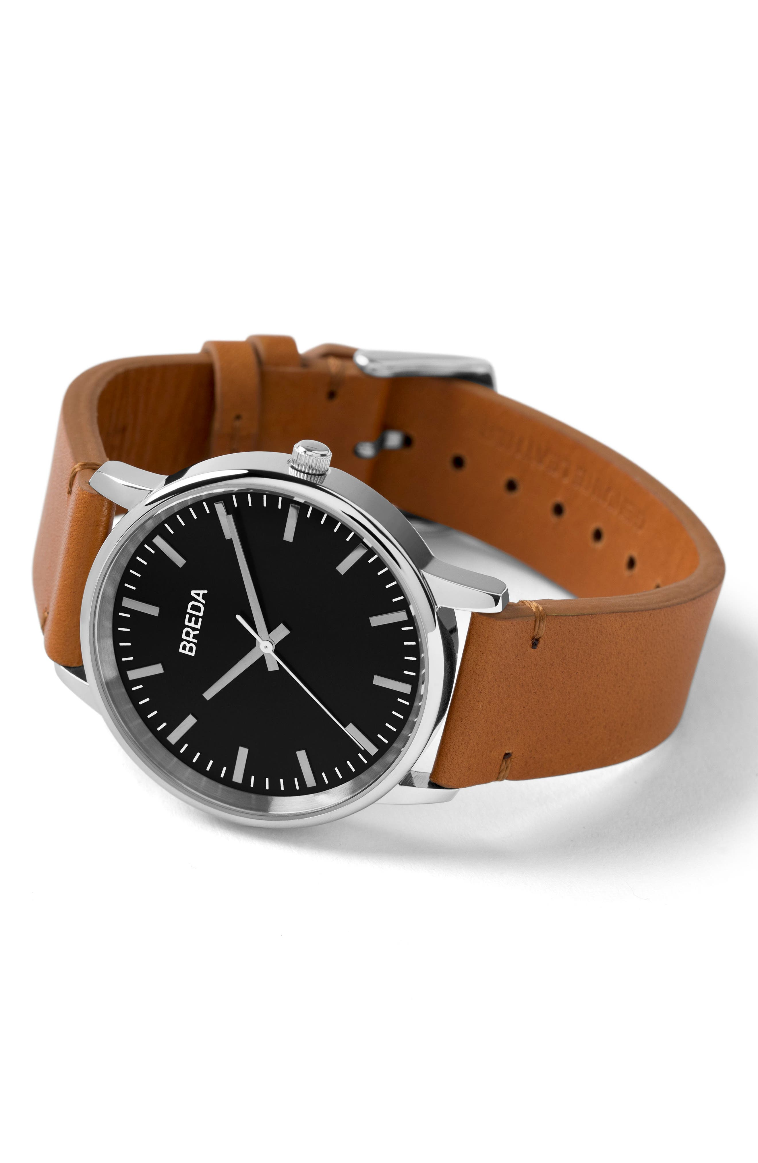 Zapf Leather Strap Watch, 39mm,                             Alternate thumbnail 3, color,                             BROWN/ BLACK/ SILVER