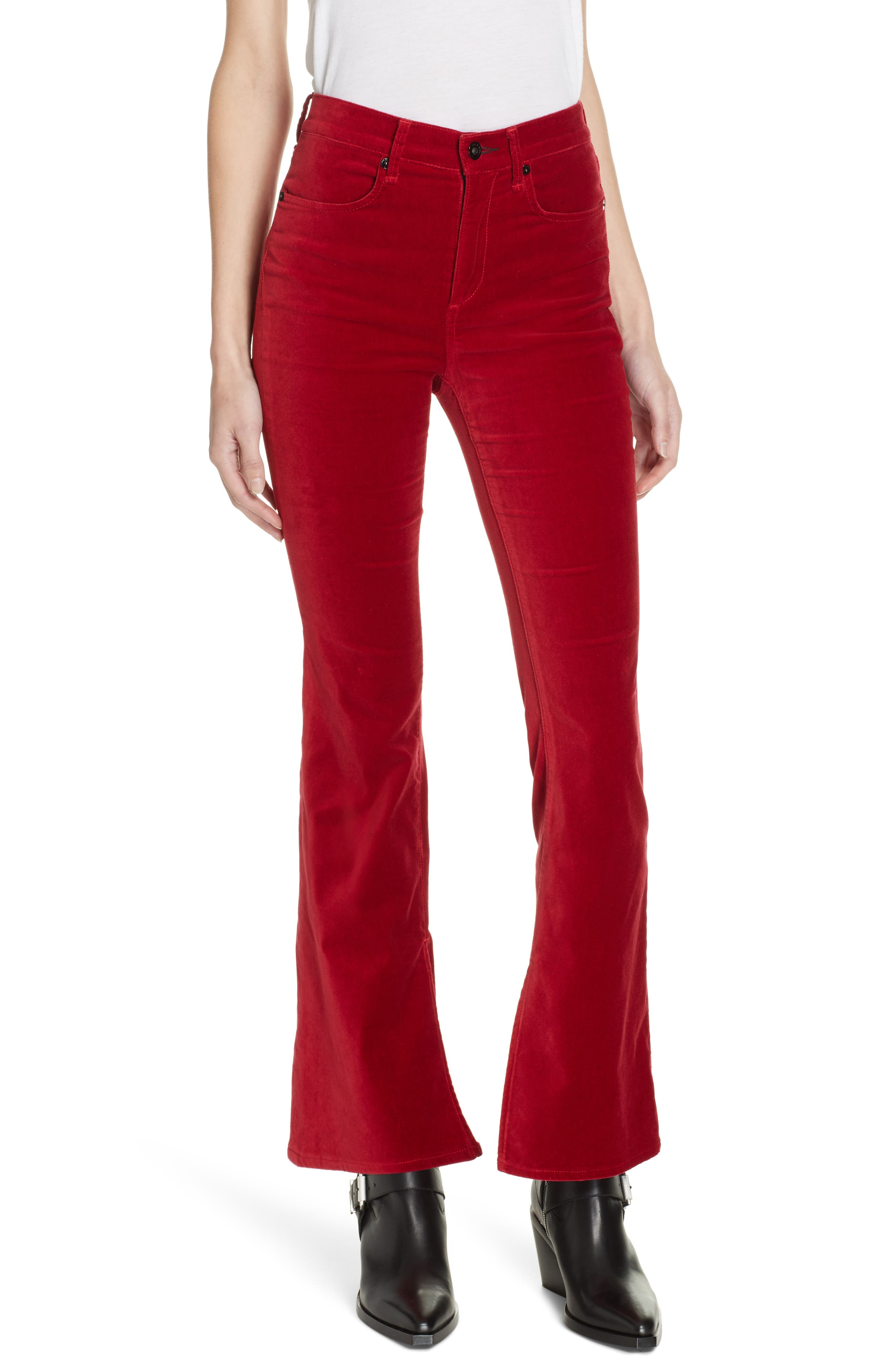 Rag & Bone Bella Velveteen Flare Pants, Red