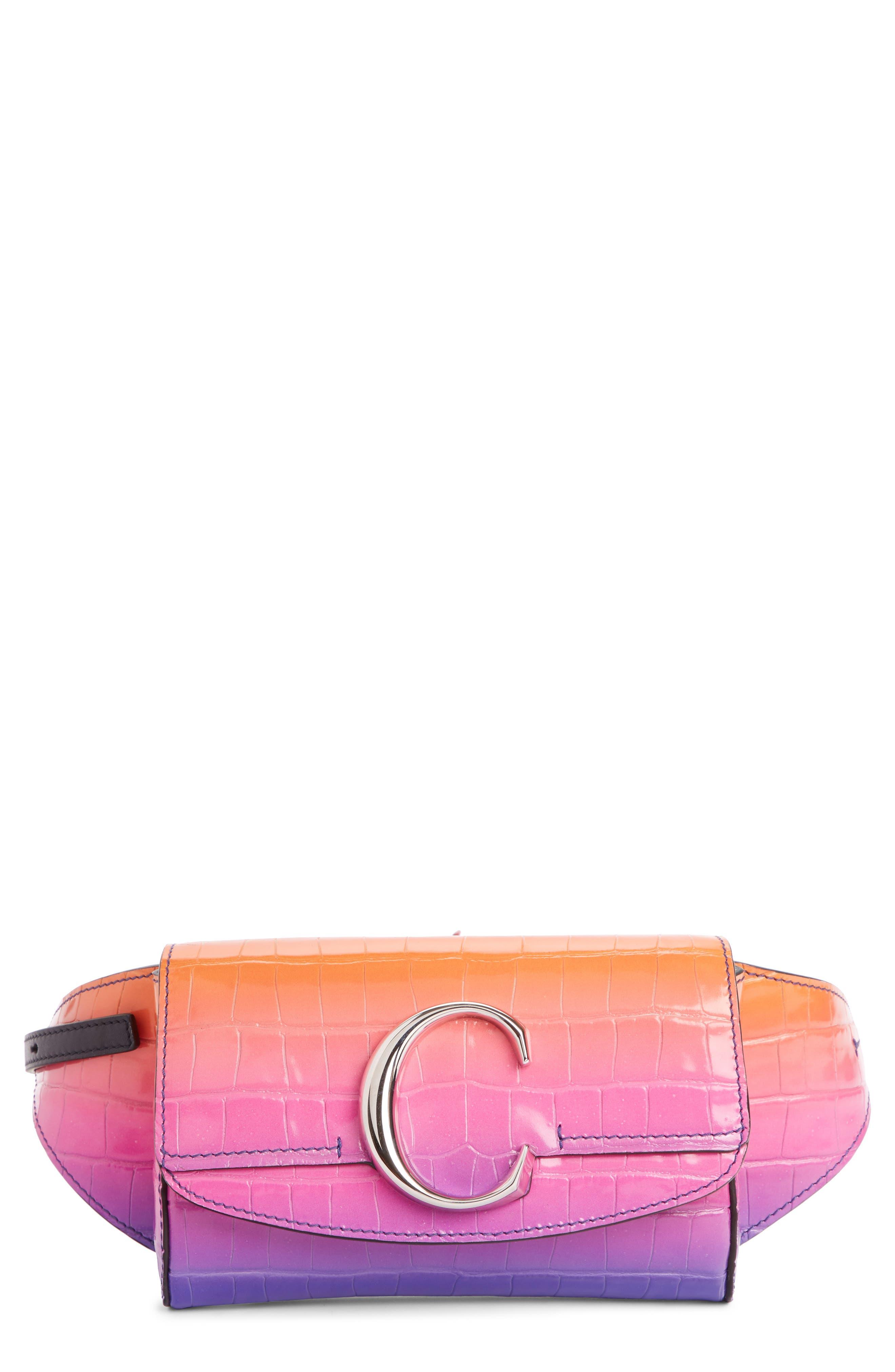 Dégradé C Croc Embossed Leather Belt Bag,                             Main thumbnail 1, color,                             ORANGE/ BLUE