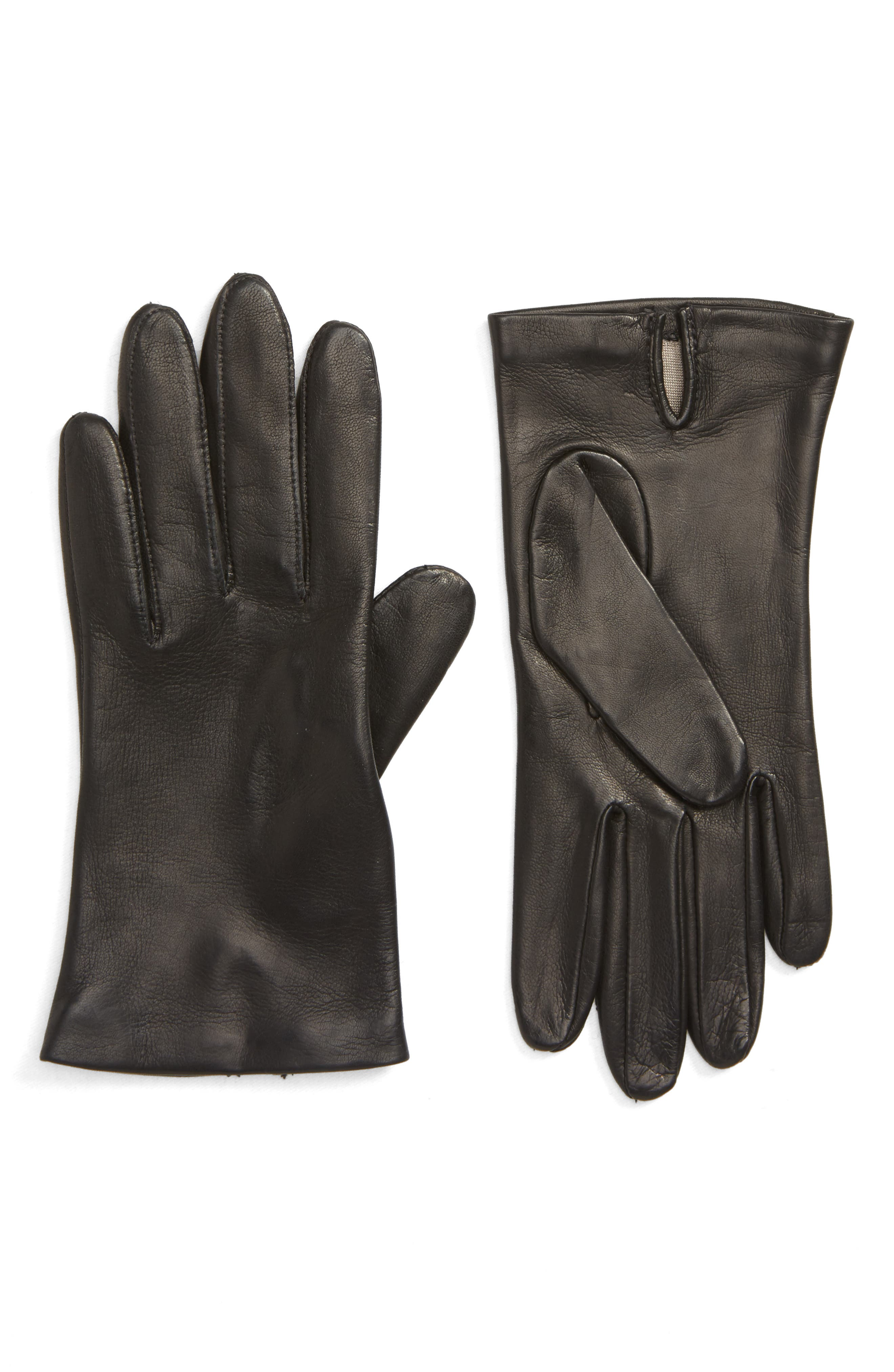 NORDSTROM,                             Lambskin Leather Gloves,                             Main thumbnail 1, color,                             001