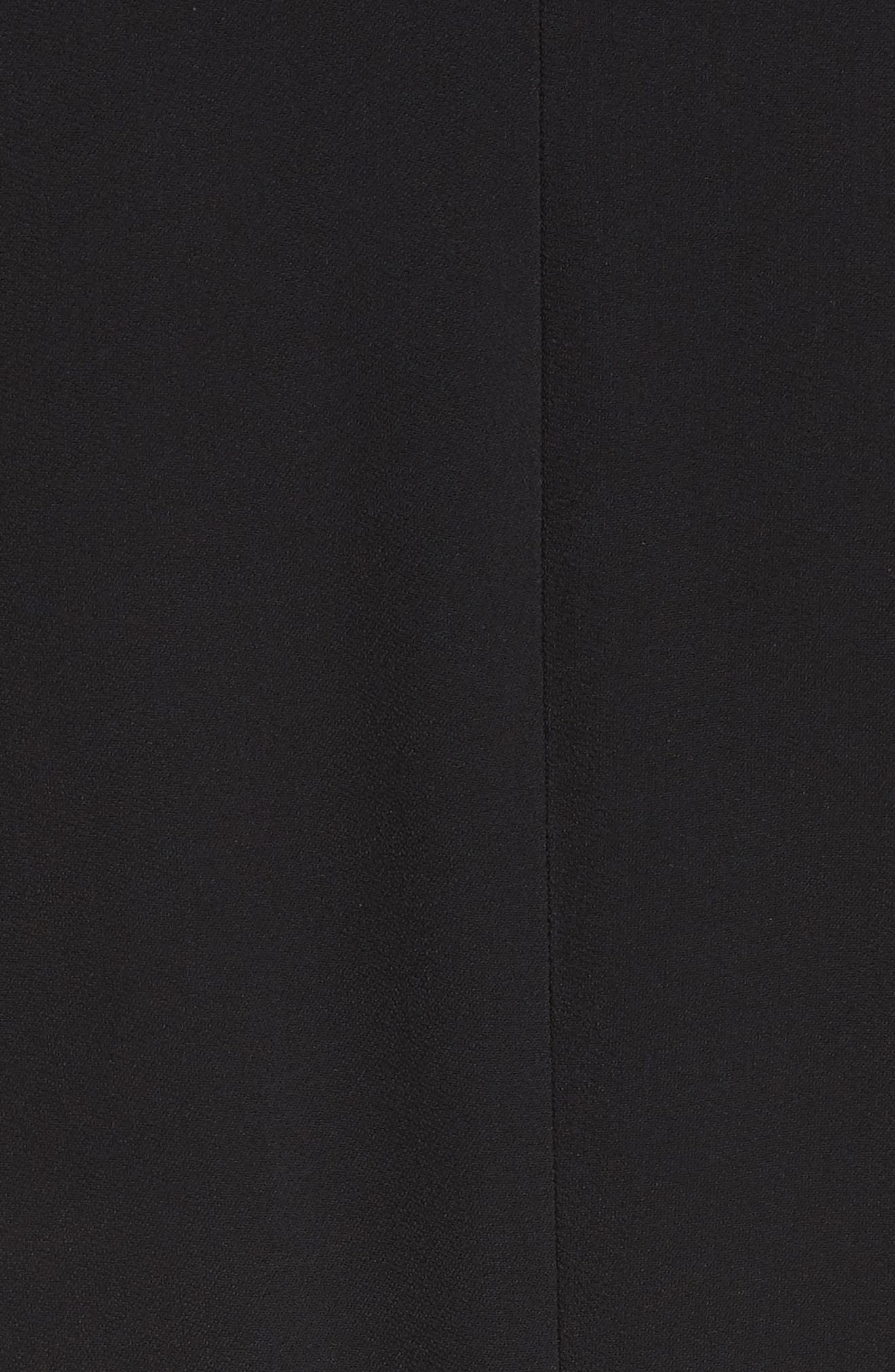 Tie Cuff Stretch Cady Dress,                             Alternate thumbnail 6, color,                             BLACK