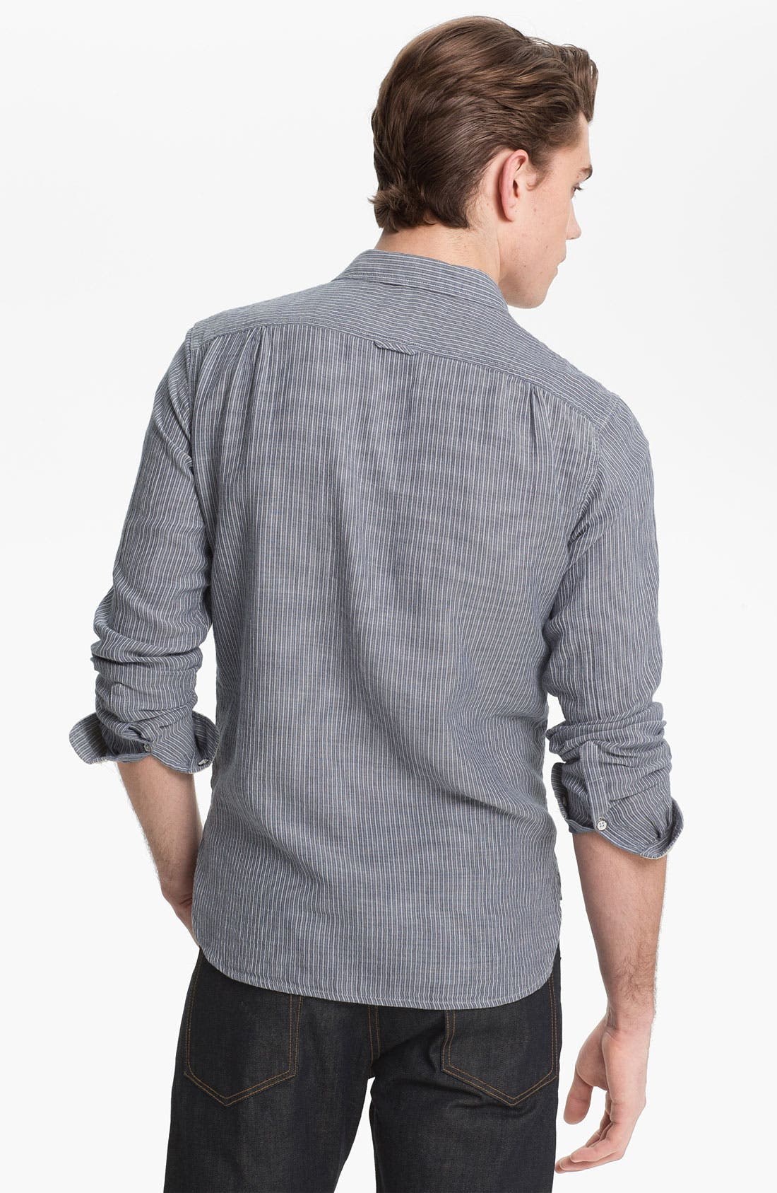 Stripe Herringbone Woven Shirt,                             Alternate thumbnail 2, color,                             400