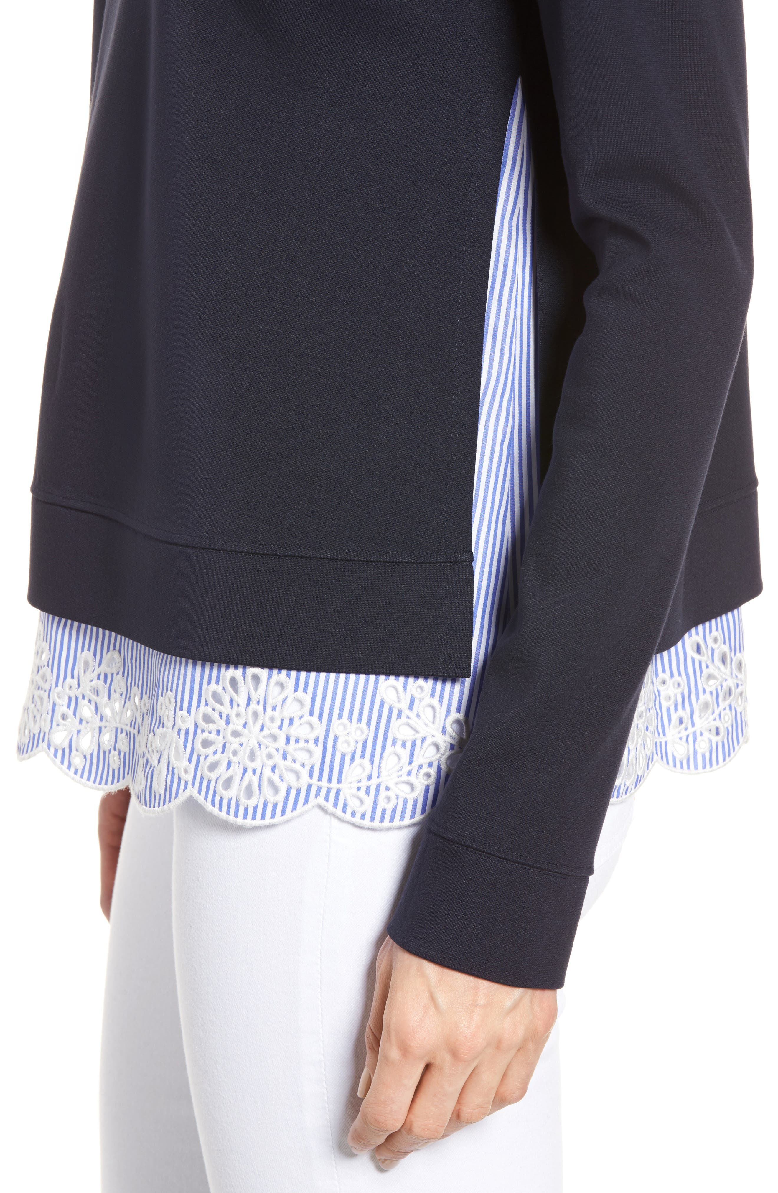 Woven Inset Ponte Knit Sweatshirt,                             Alternate thumbnail 4, color,                             410