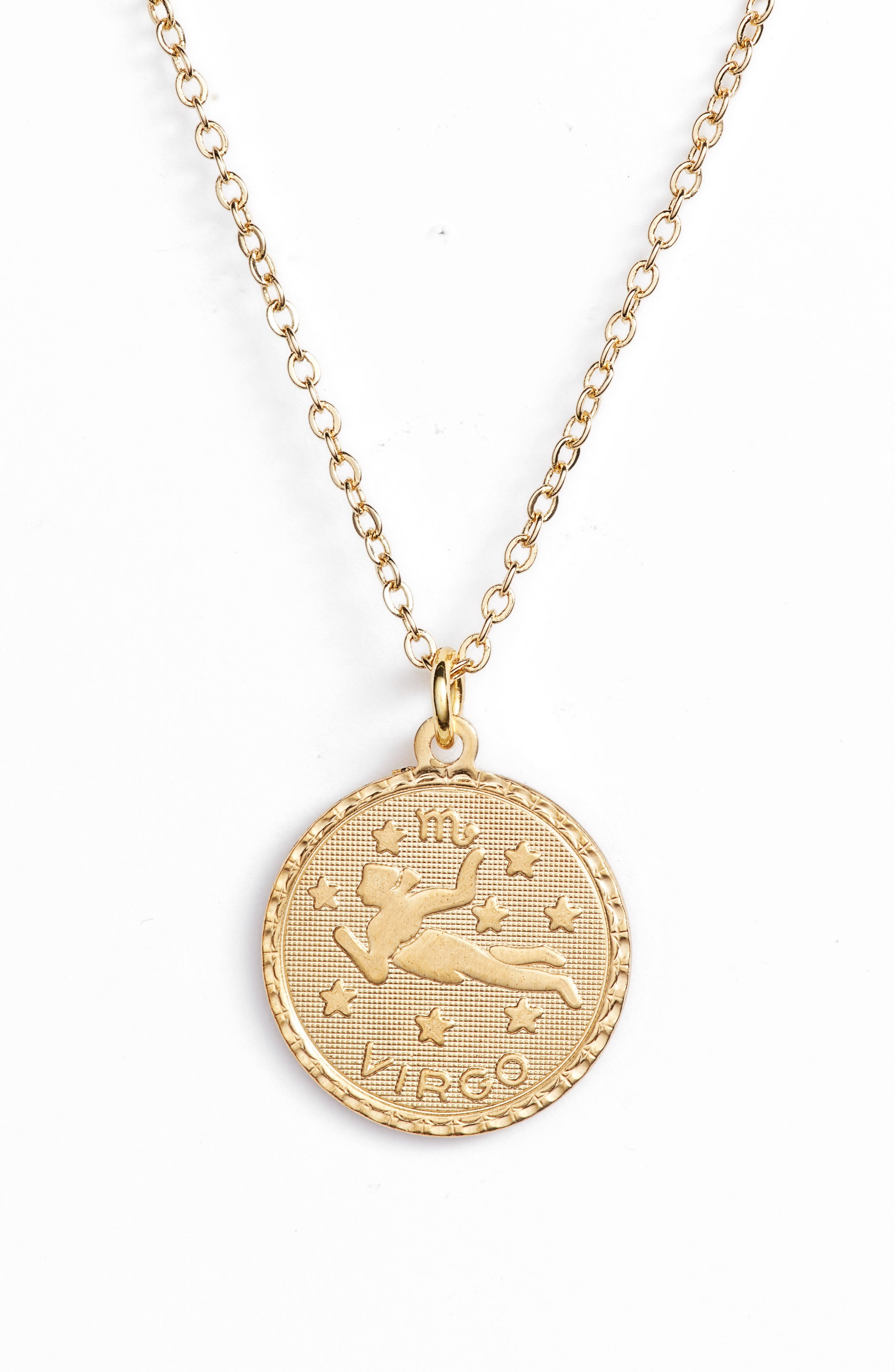 Zodiac Coin Pendant Necklace,                             Main thumbnail 1, color,                             GOLD-VIRGO
