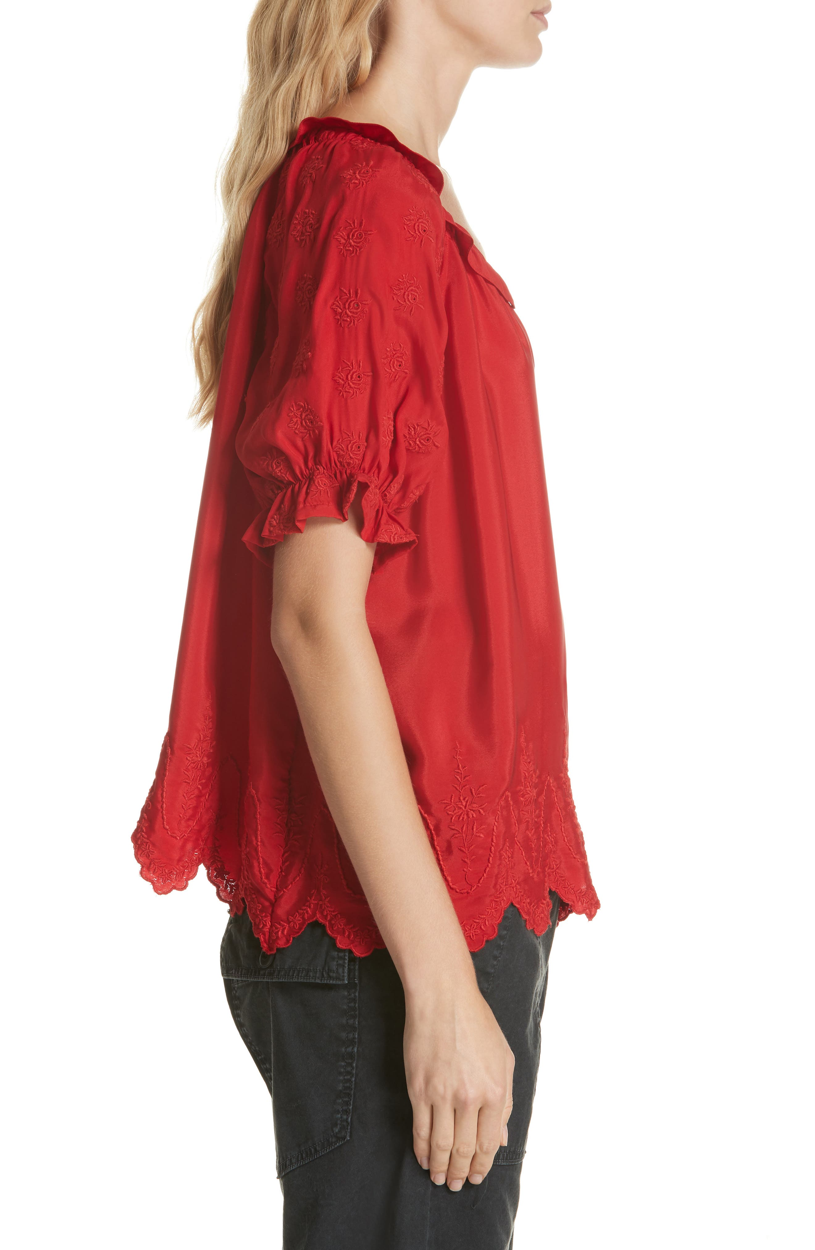 Wish Embroidered Silk Top,                             Alternate thumbnail 3, color,                             VALENTINE