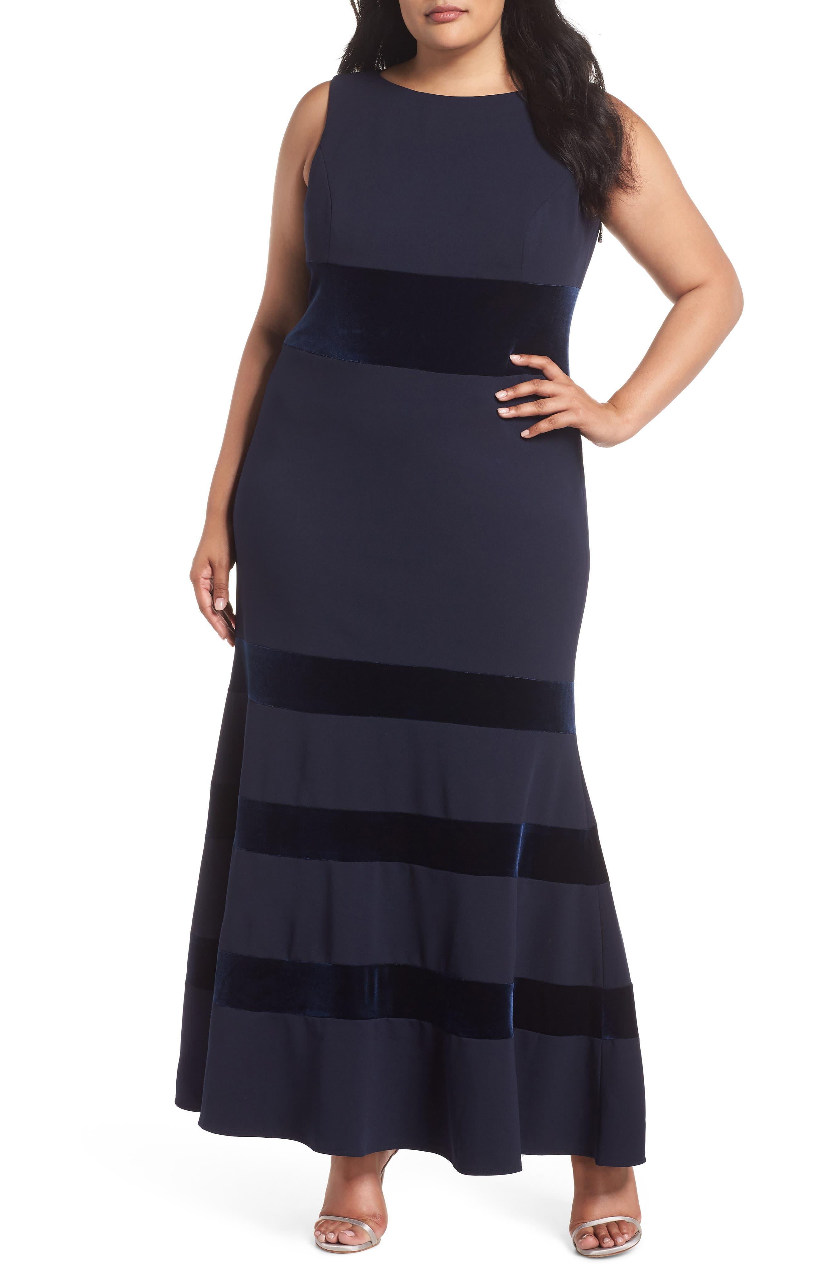 Plus Size Vince Camuto Bateau Neck Gown, Blue