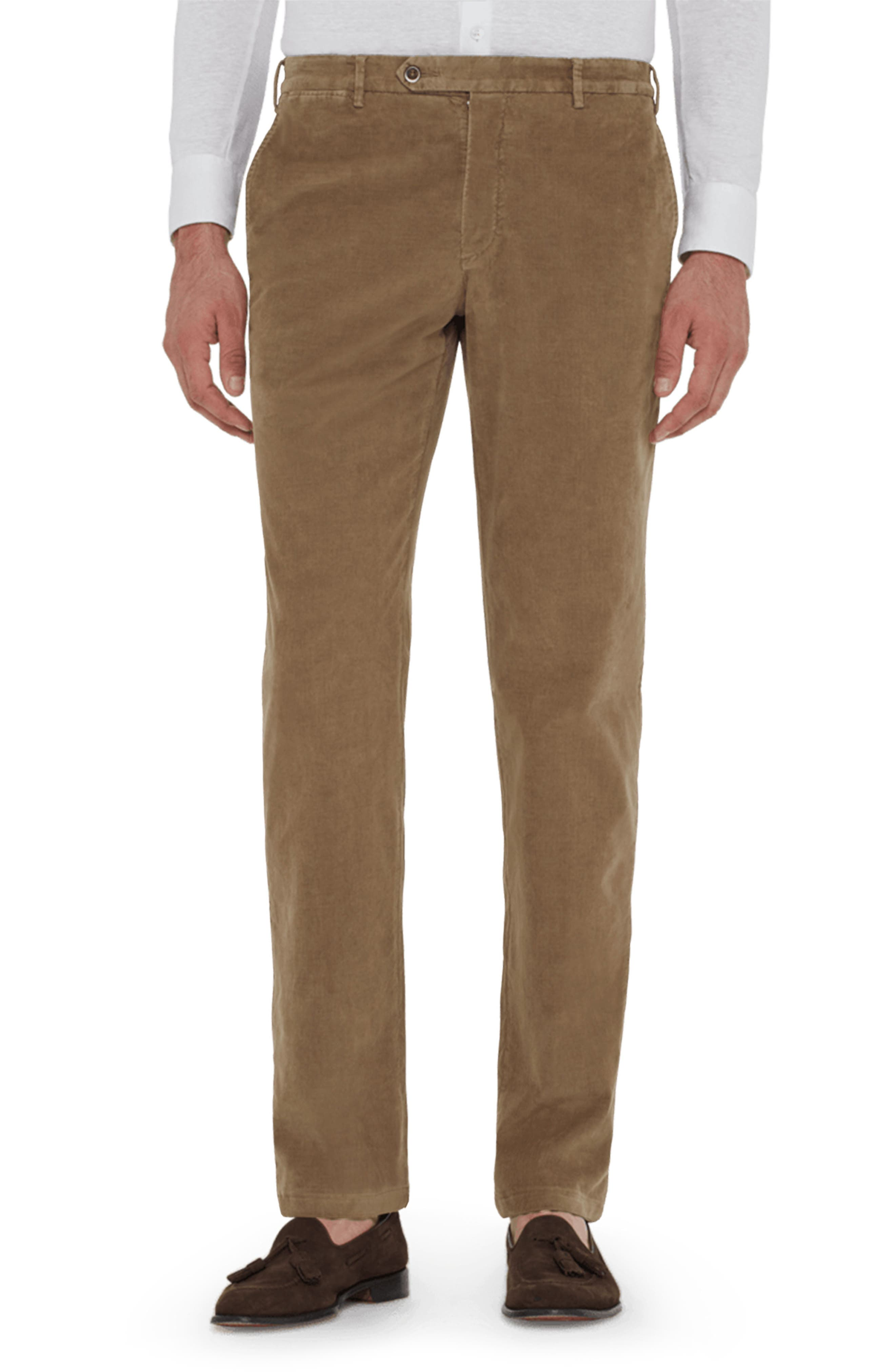 ZANELLA Curtis Flat Front Stretch Corduroy Cotton Trousers in Tan