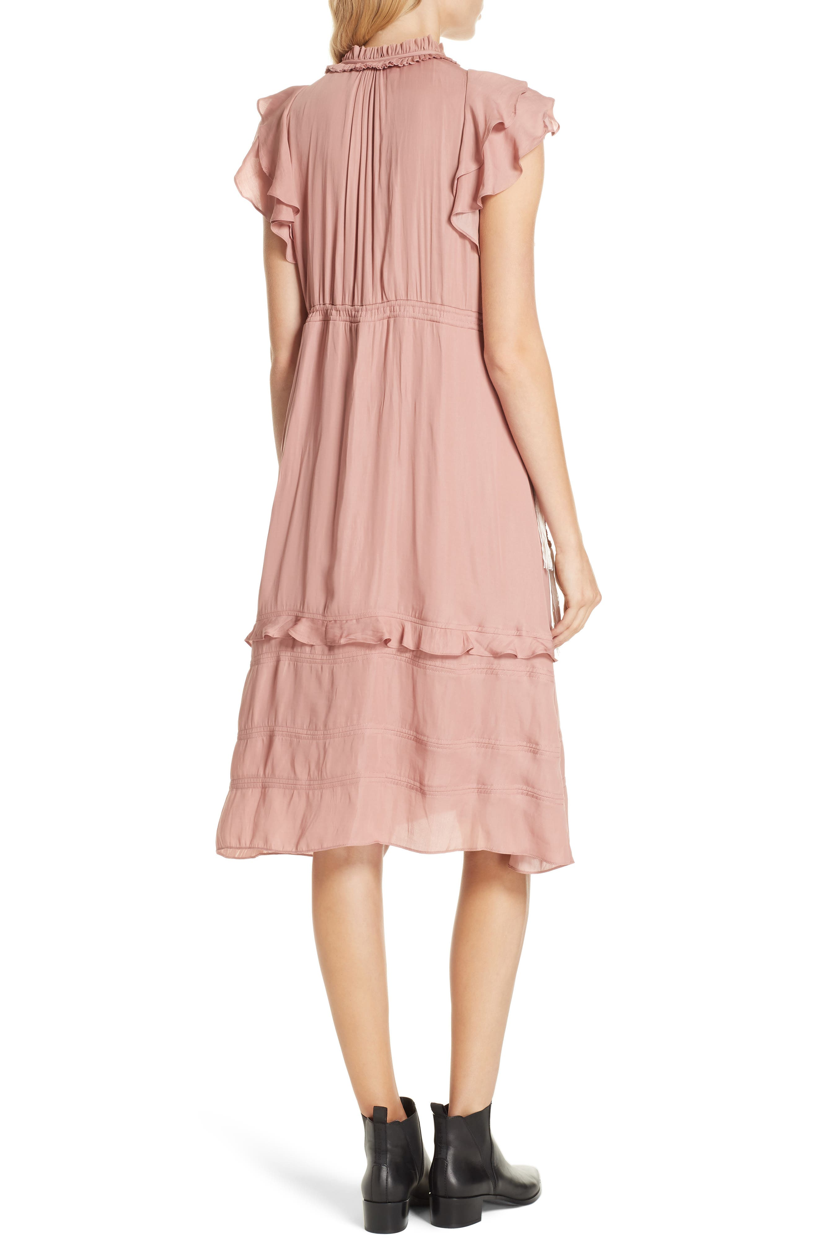 Tassel Tie Midi Dress,                             Alternate thumbnail 2, color,                             ROSE WOOD