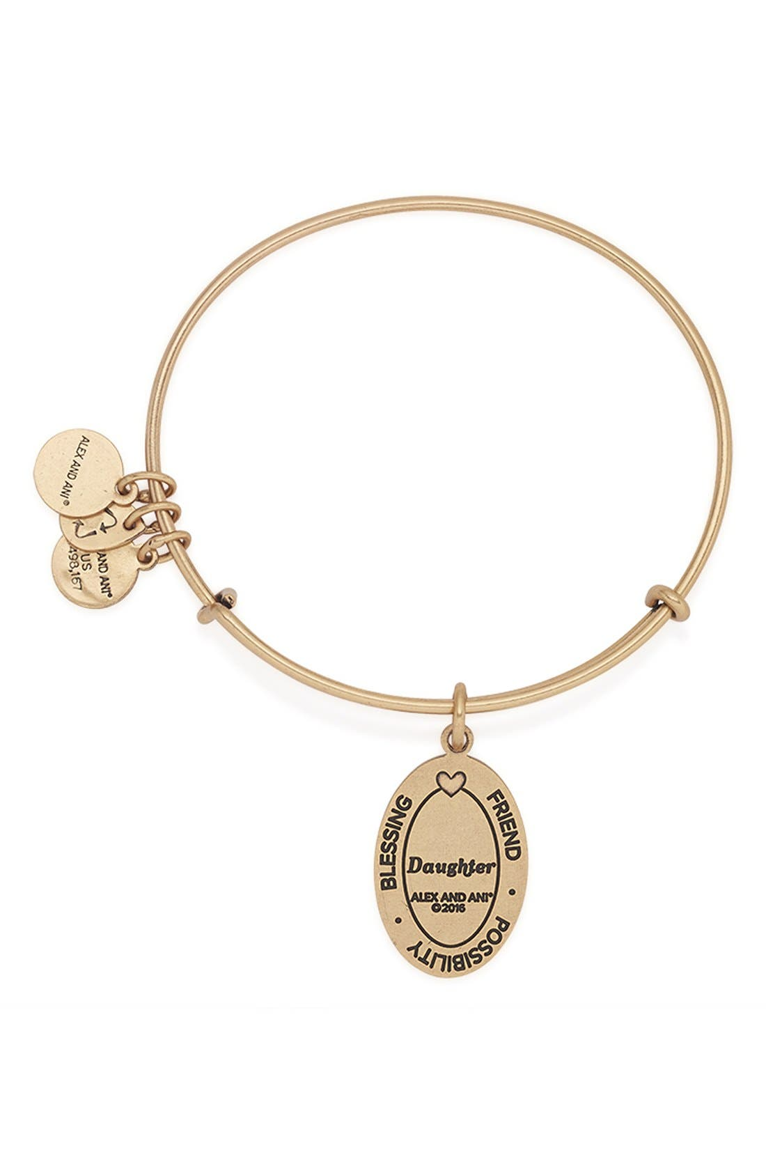 'I Love You Daughter' Expandable Wire Bangle,                             Alternate thumbnail 4, color,                             710