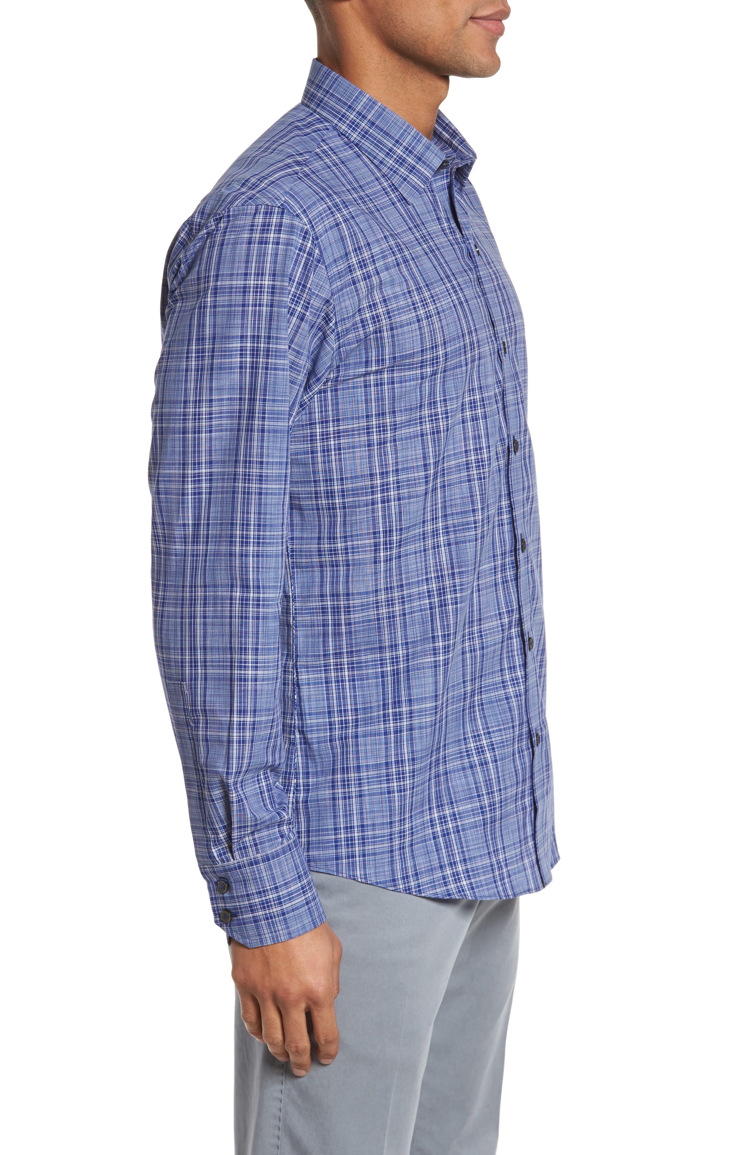 Santos Plaid Sport Shirt,                             Alternate thumbnail 3, color,                             432