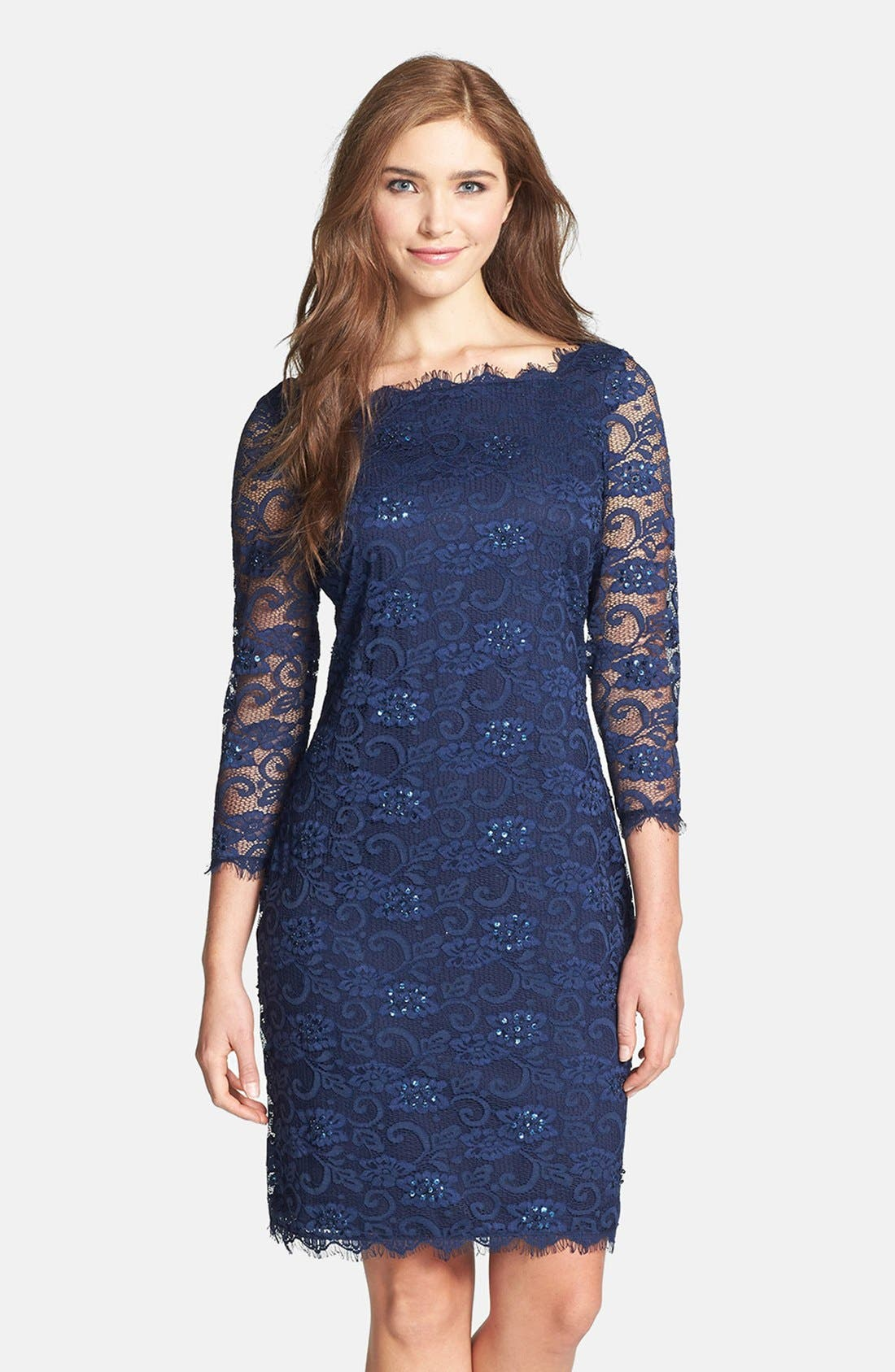 Embellished Lace Sheath Dress,                             Main thumbnail 1, color,                             410