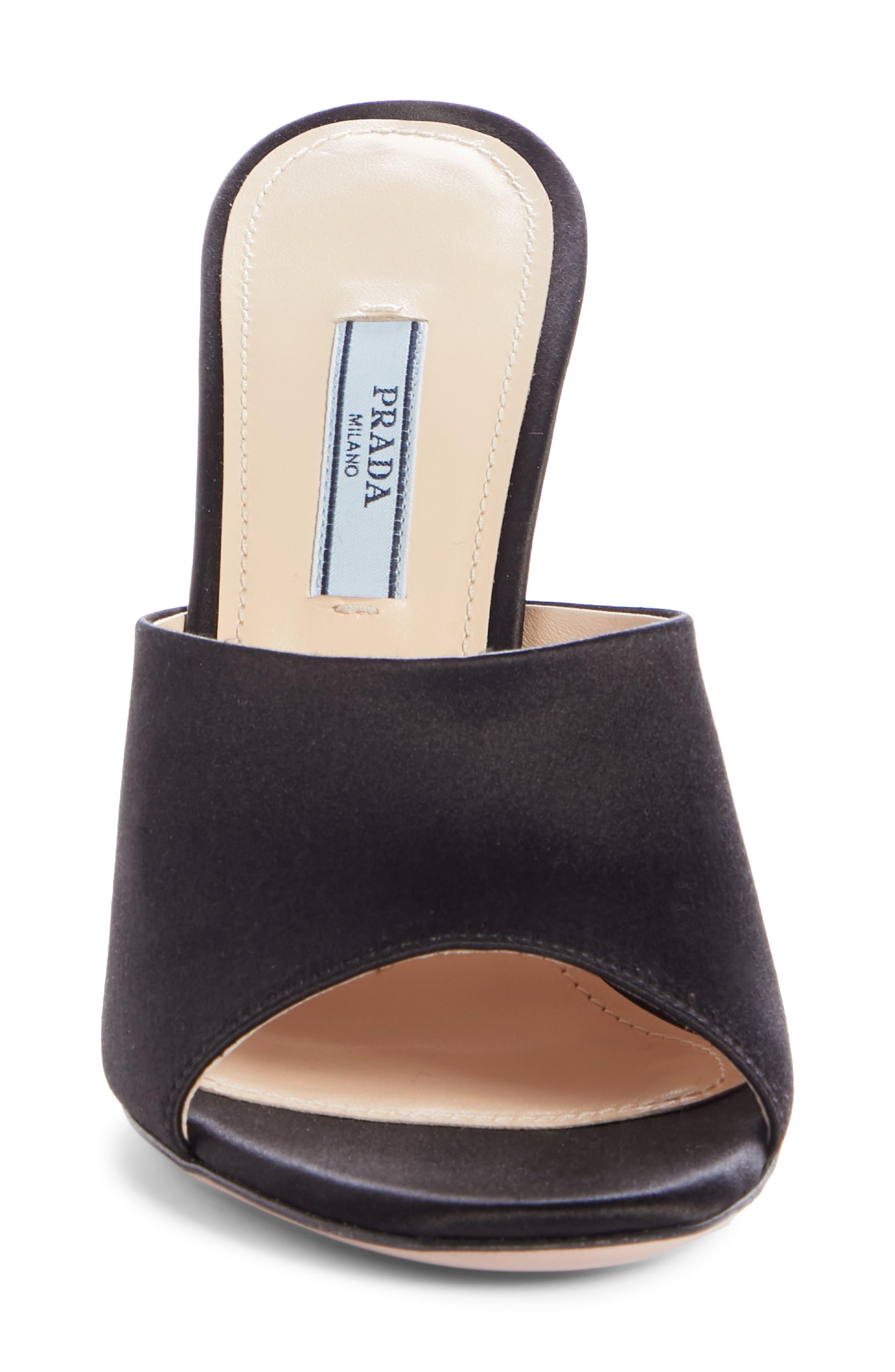 Mule Sandal,                             Alternate thumbnail 4, color,                             BLACK SILK