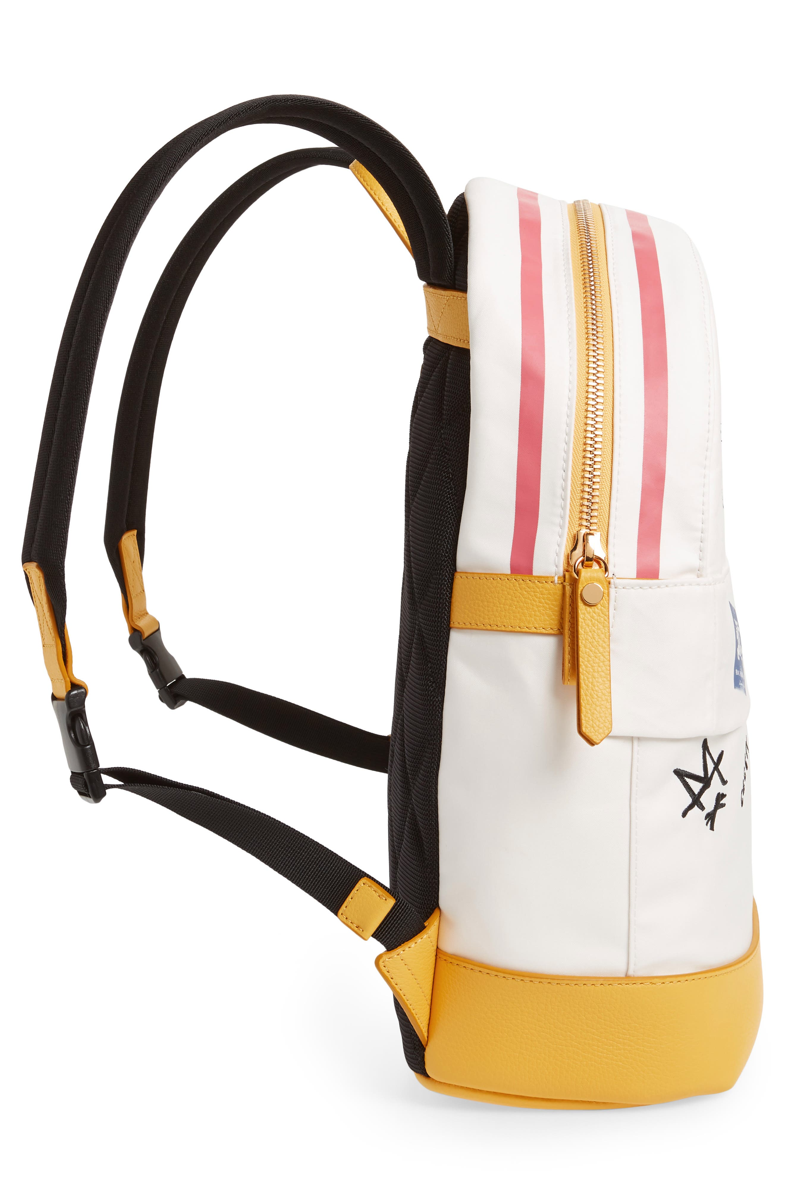 Burberrry Graphic Canvas Backpack,                             Alternate thumbnail 4, color,                             LARCH YELLOW