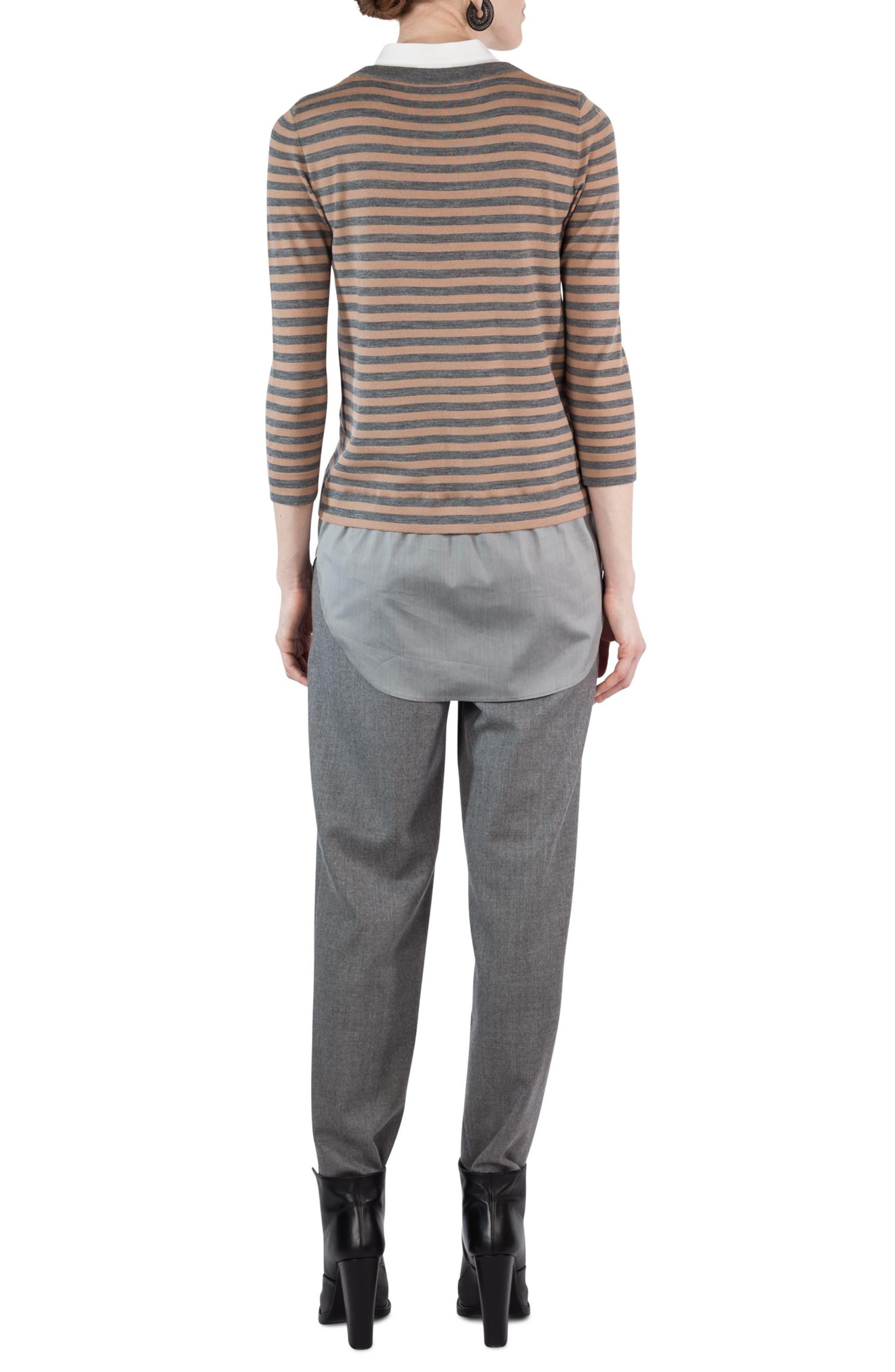 Poplin Inset Stripe Sweater,                             Alternate thumbnail 2, color,                             020