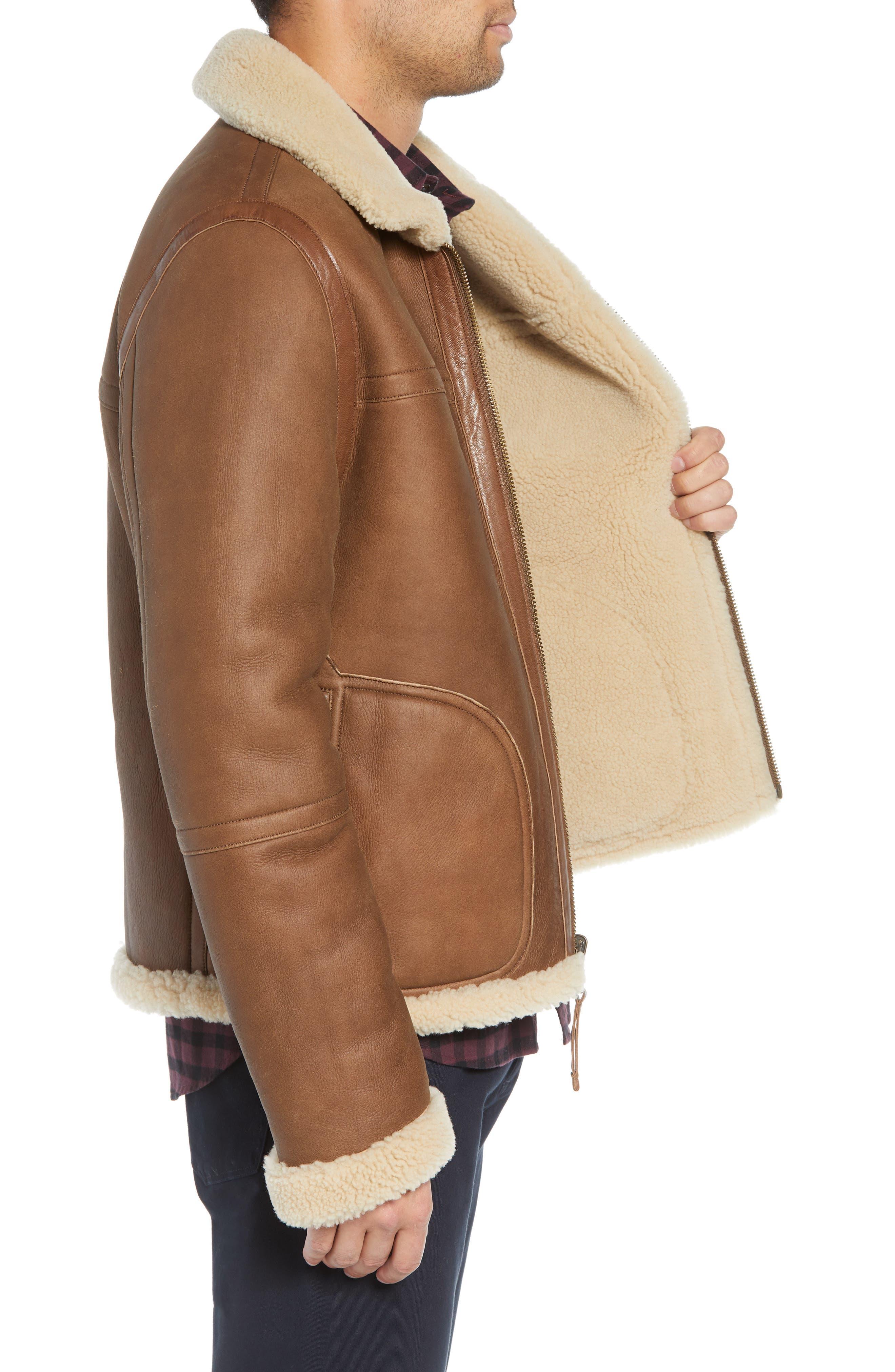 Reversible Genuine Shearling Jacket,                             Alternate thumbnail 4, color,                             117