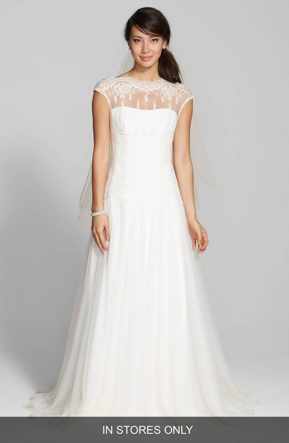 Illusion Yoke Lace & Tulle Dress,                         Main,                         color, IVORY