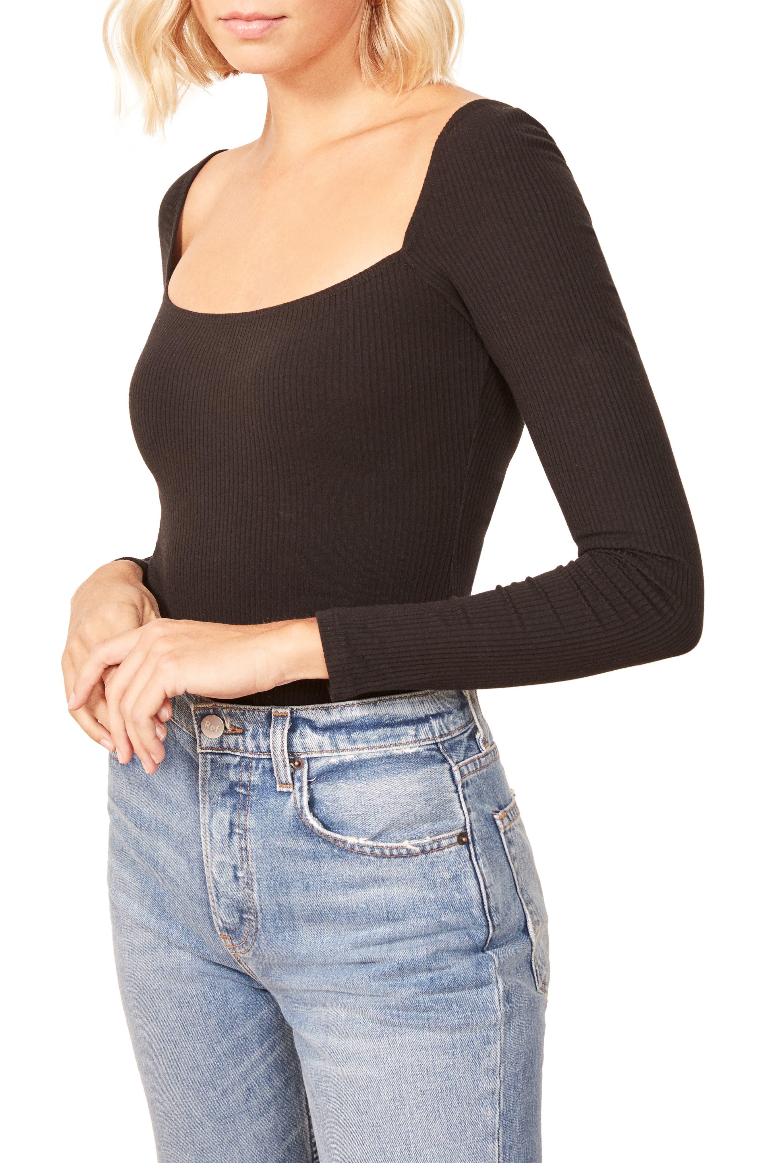 Gaia Bodysuit,                         Main,                         color, BLACK