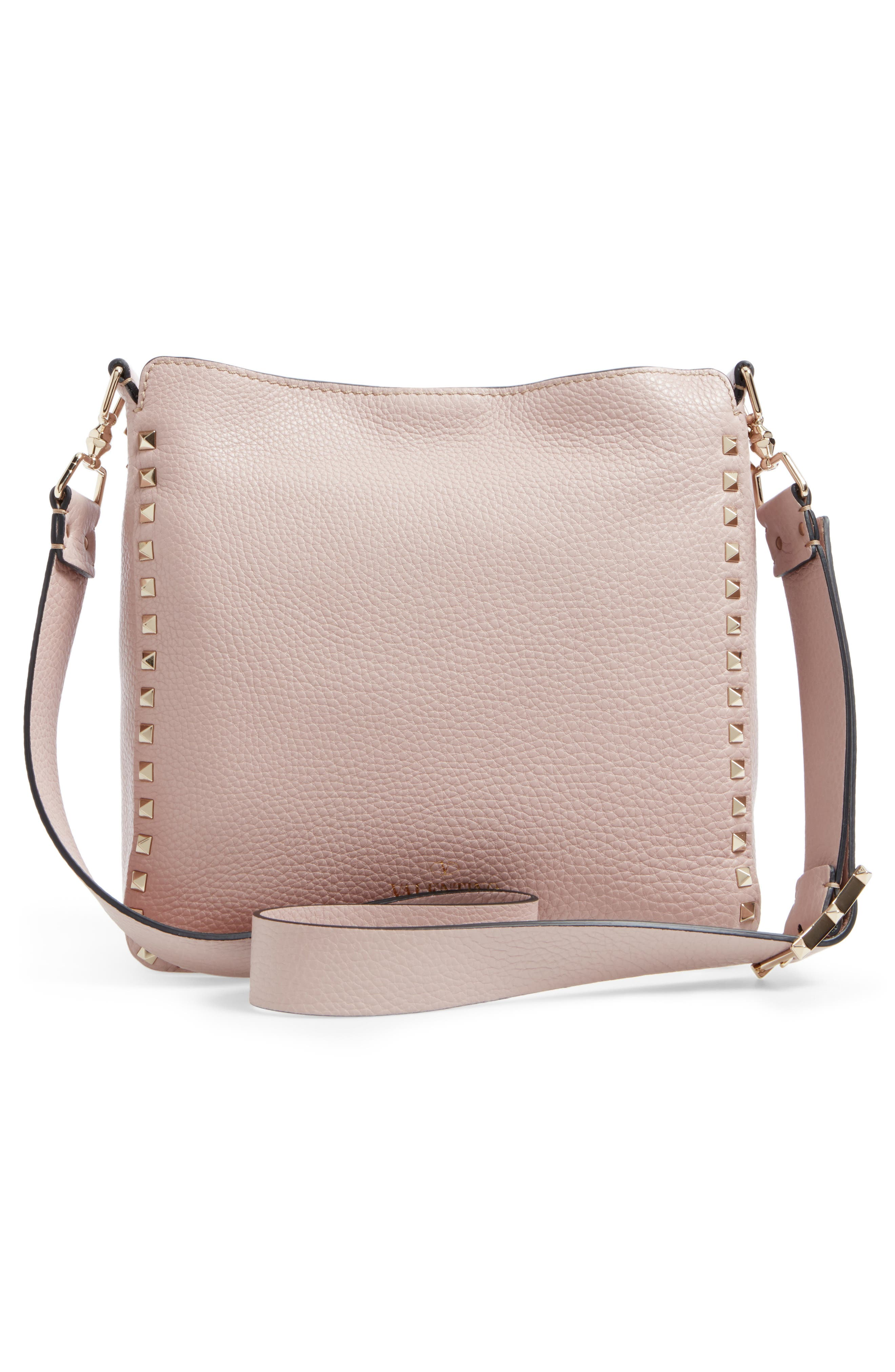 Vitello Rockstud Leather Hobo,                             Alternate thumbnail 3, color,                             950