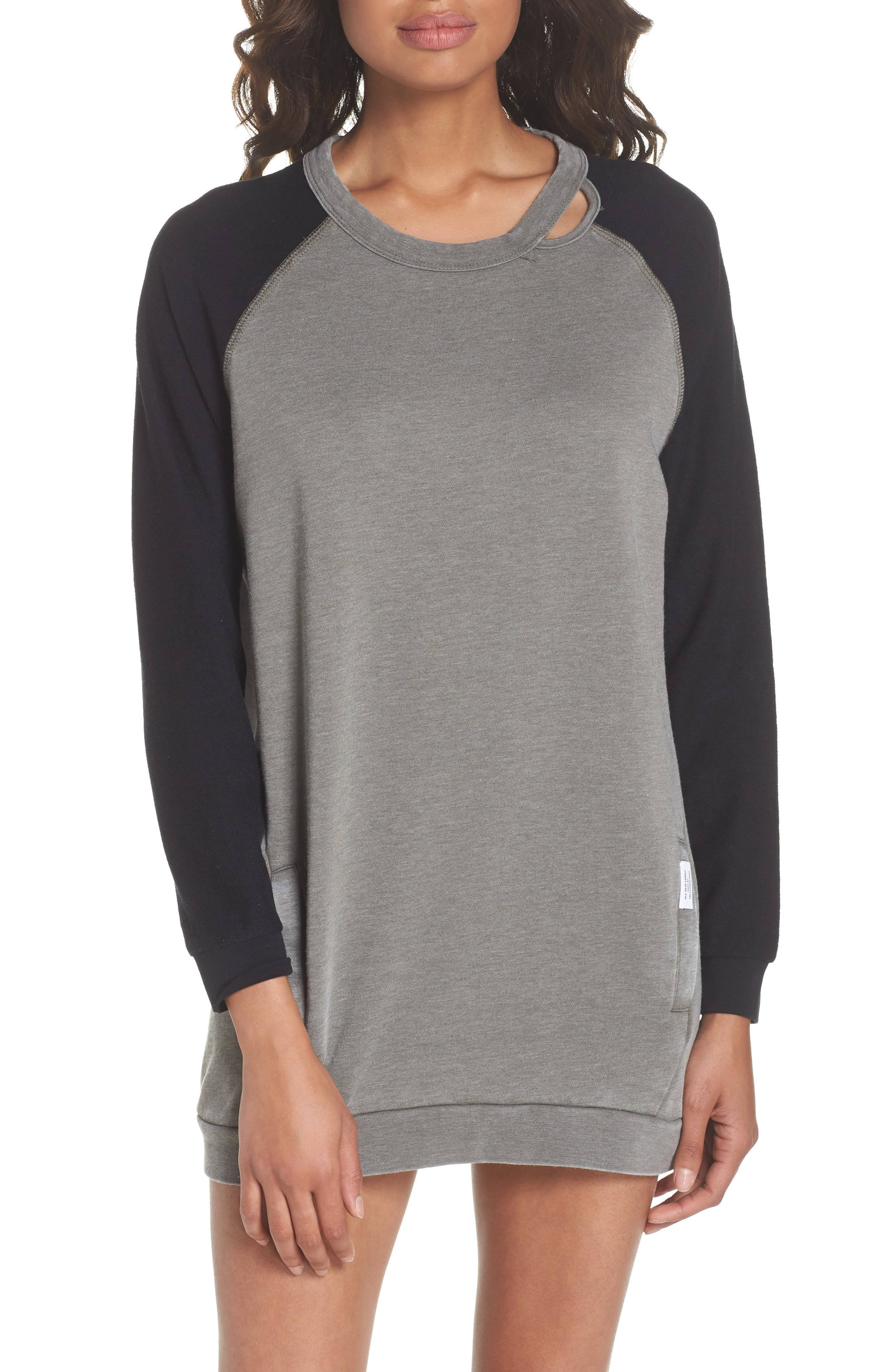 Lounge Sweatshirt Dress,                             Main thumbnail 1, color,                             001