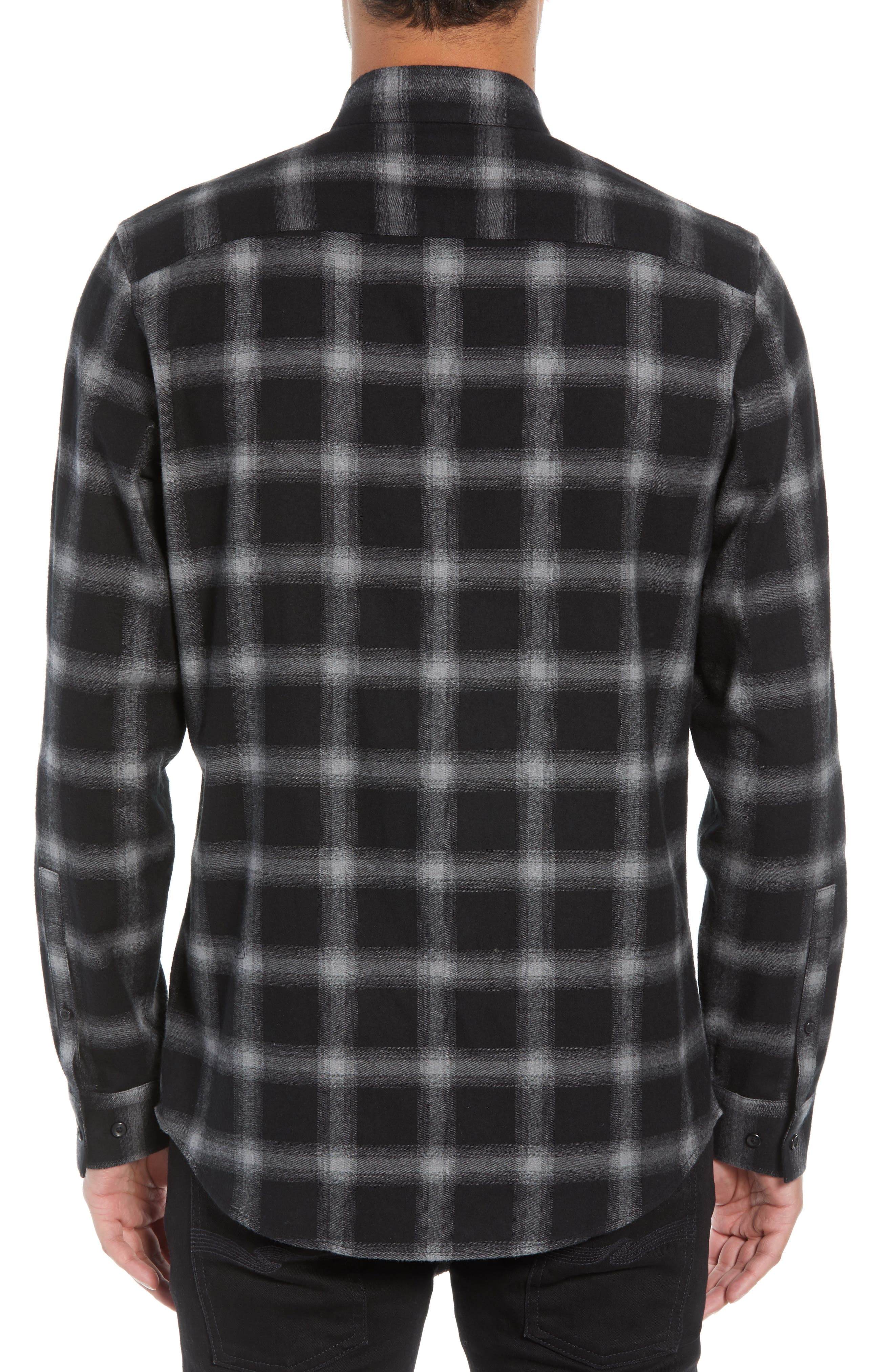 Slim Fit Mini Collar Plaid Flannel Sport Shirt,                             Alternate thumbnail 2, color,                             GREY BLACK SHADOW PLAID