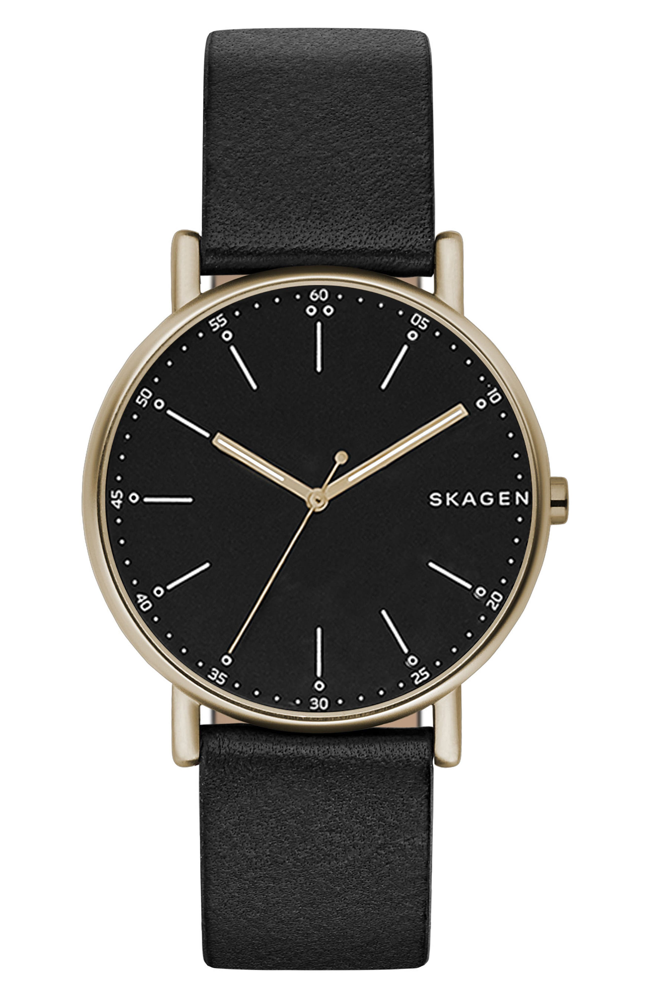 Signatur Leather Strap Watch, 40mm,                         Main,                         color, 001