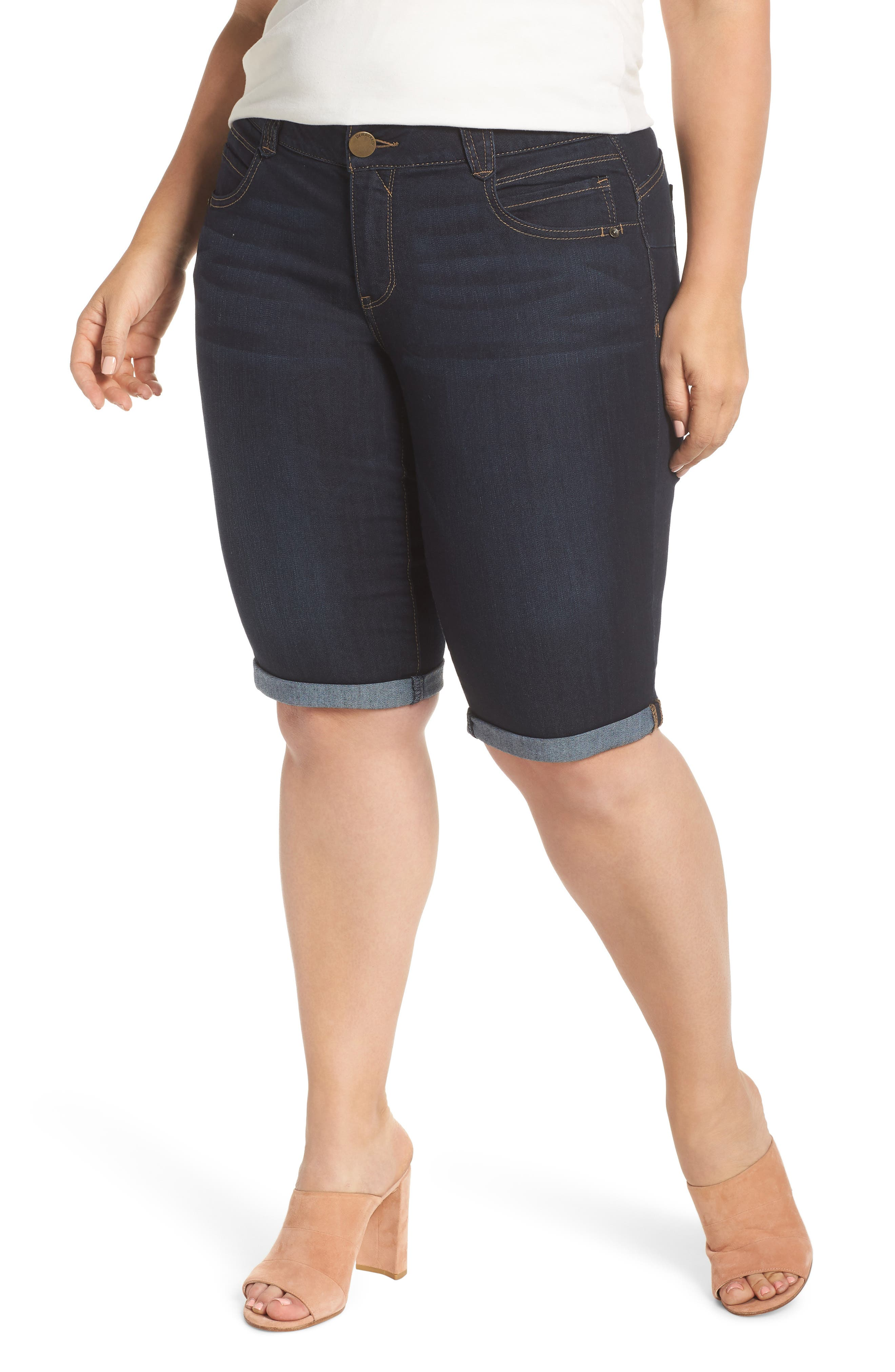 Stretch Denim Bermuda Shorts,                         Main,                         color, 402